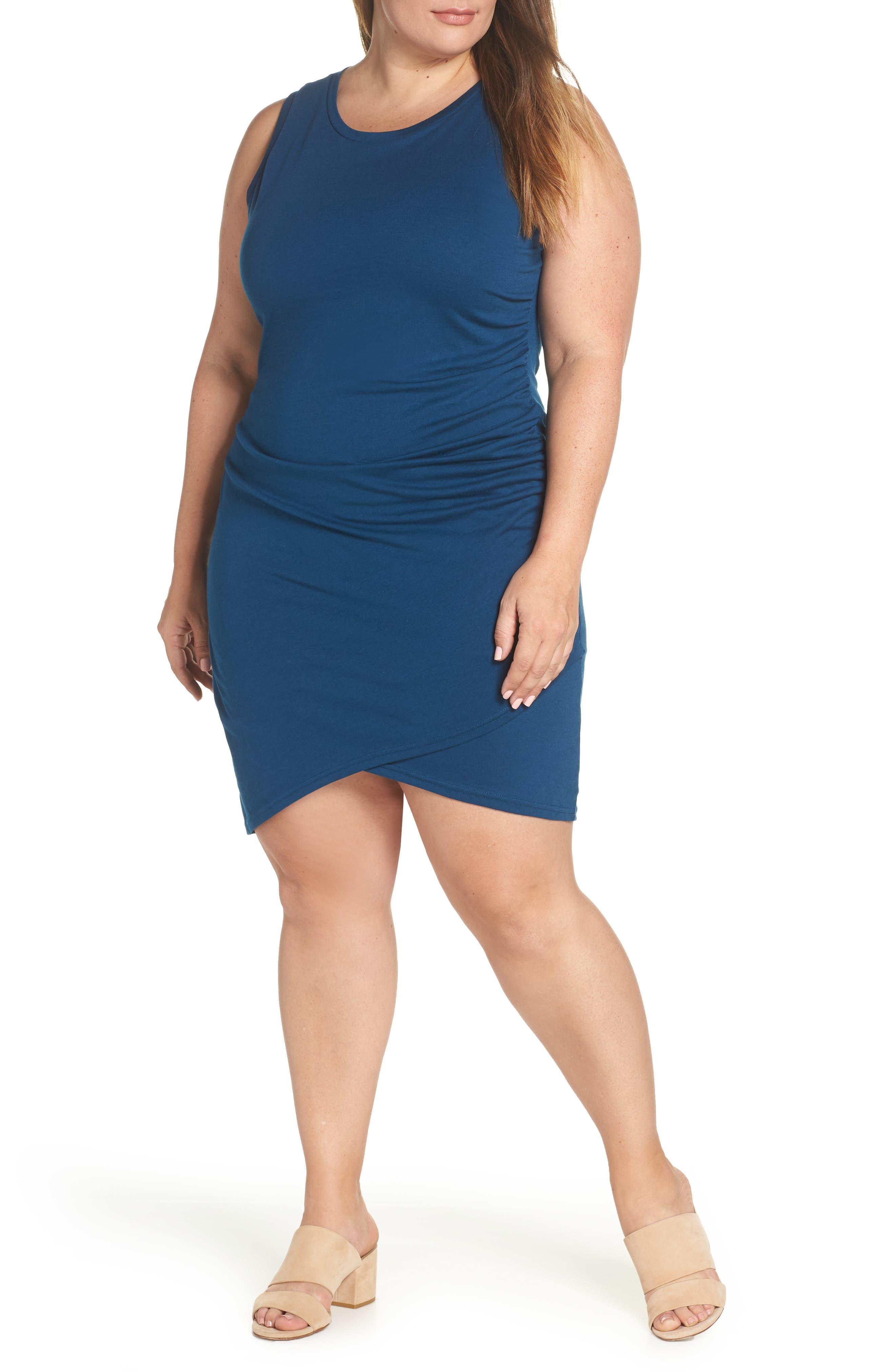 Ruched Sheath Dress,                             Main thumbnail 1, color,                             BLUE AURORA