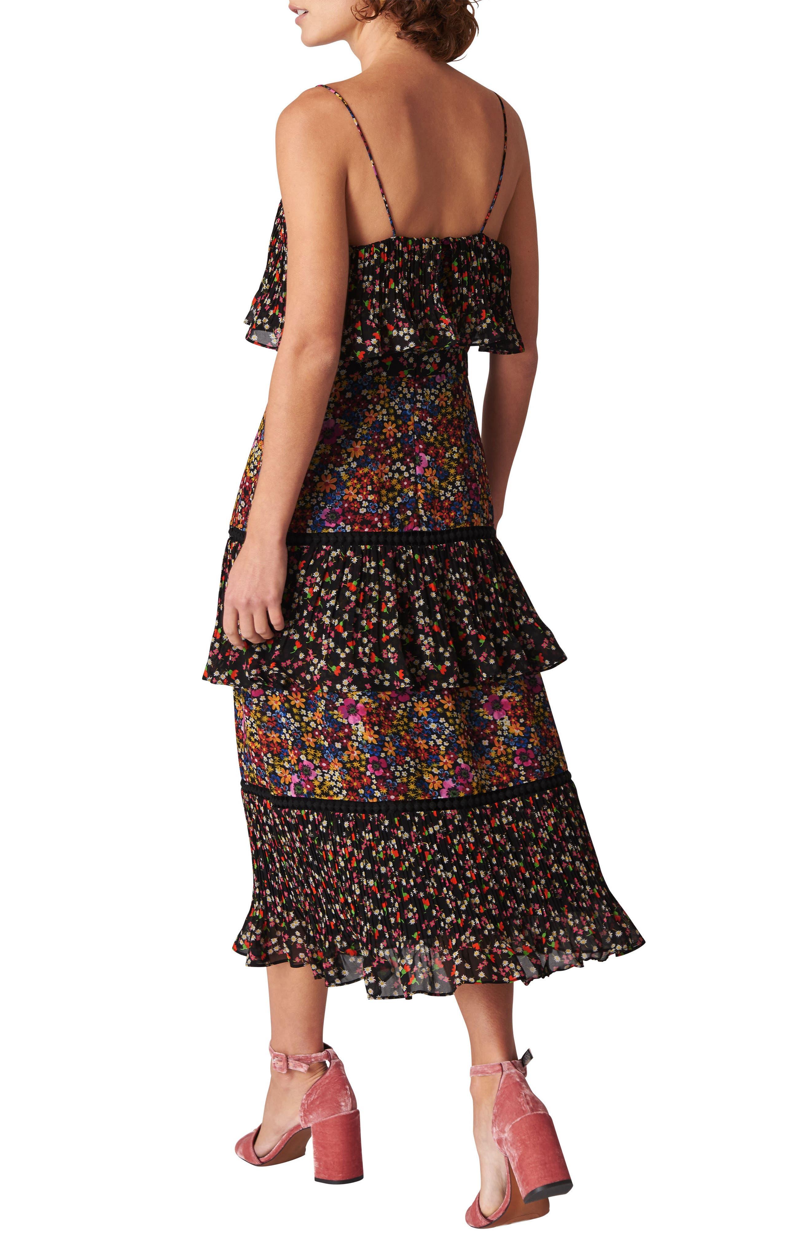 Skylar Peony Print Tiered Dress,                             Alternate thumbnail 2, color,                             BLACK/ MULTI