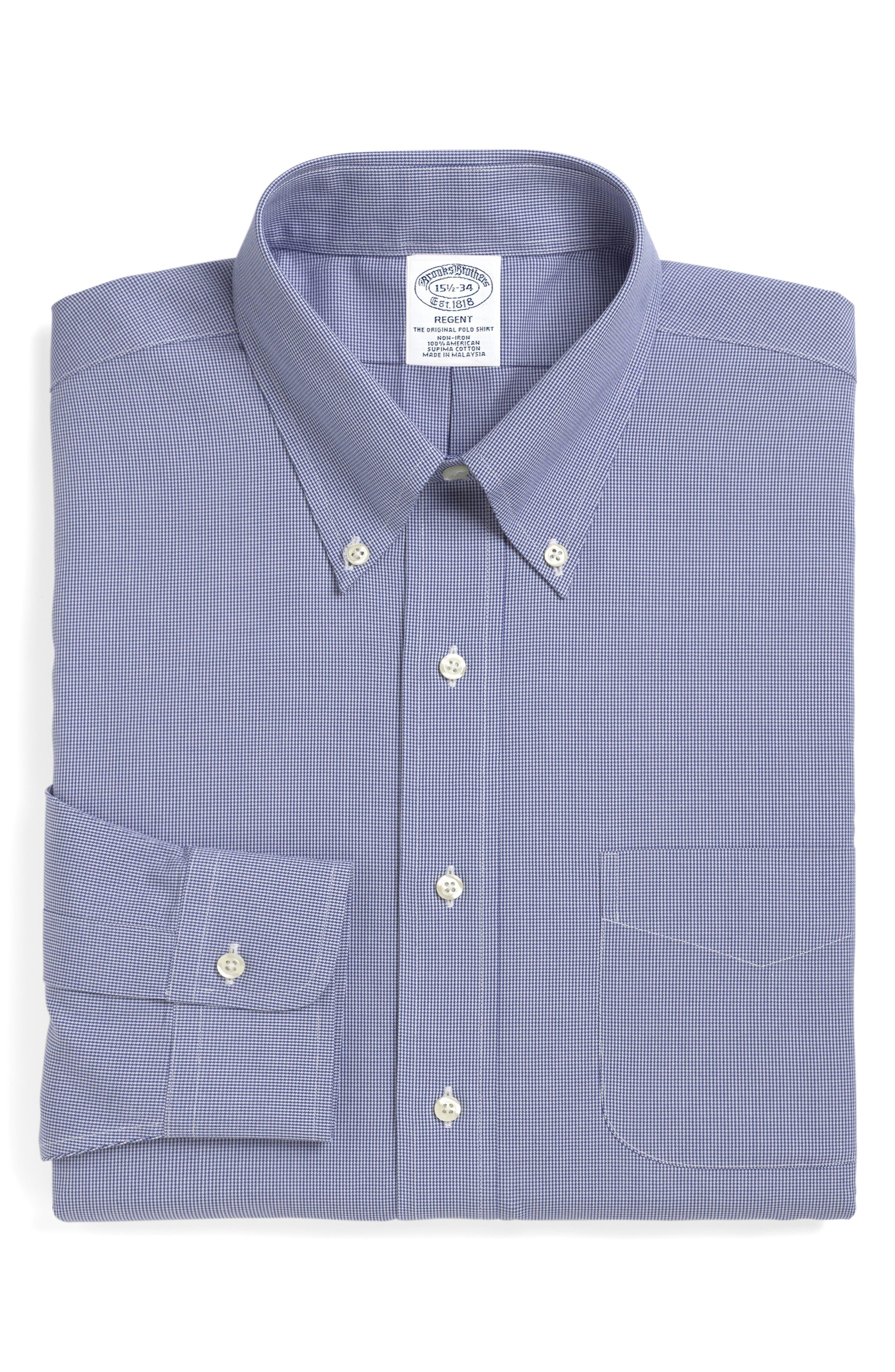 Regular Fit Houndstooth Dress Shirt,                         Main,                         color, BLUE