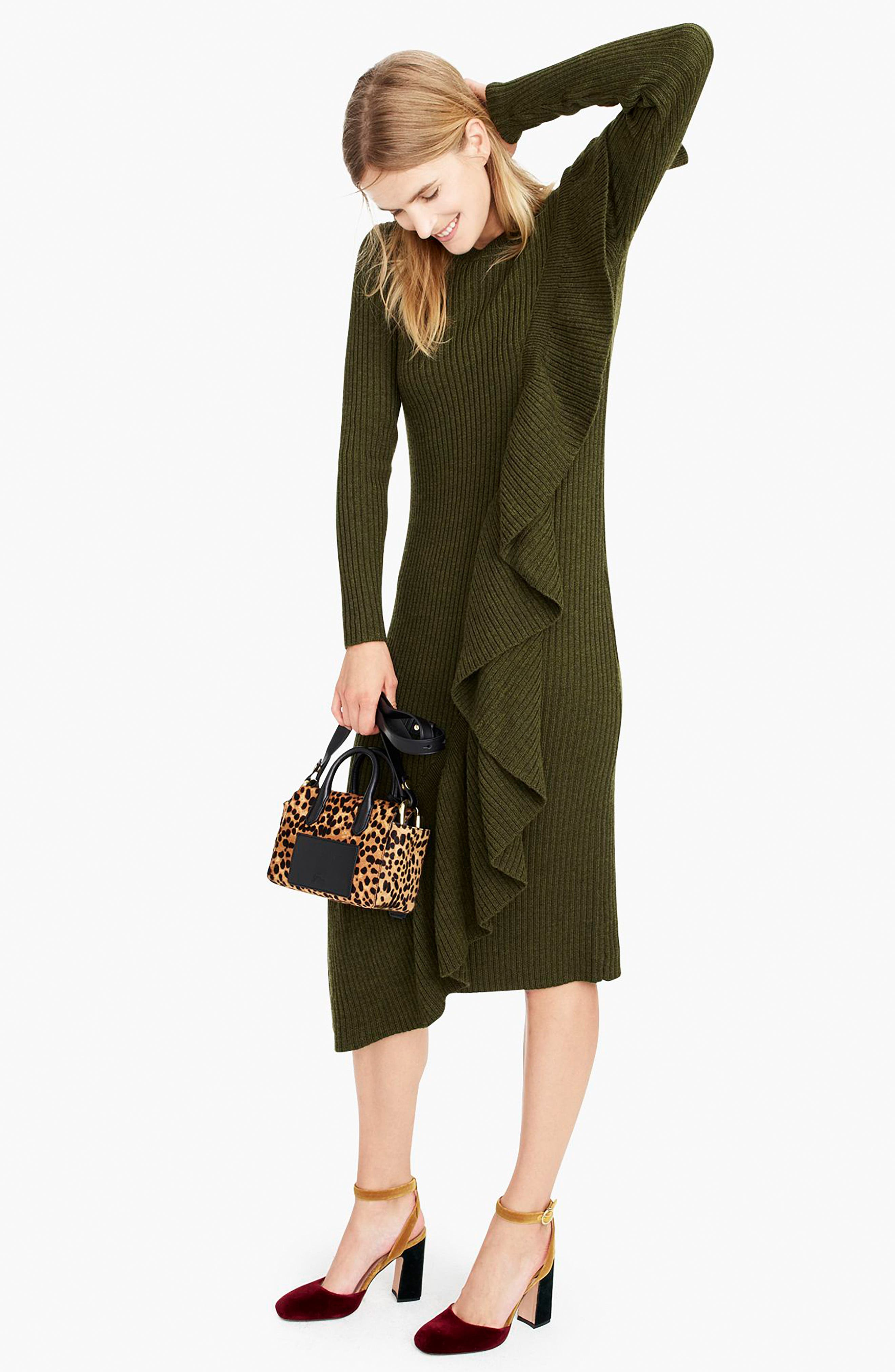 Collection Ruffle-Front Sweater Dress,                             Alternate thumbnail 6, color,                             300