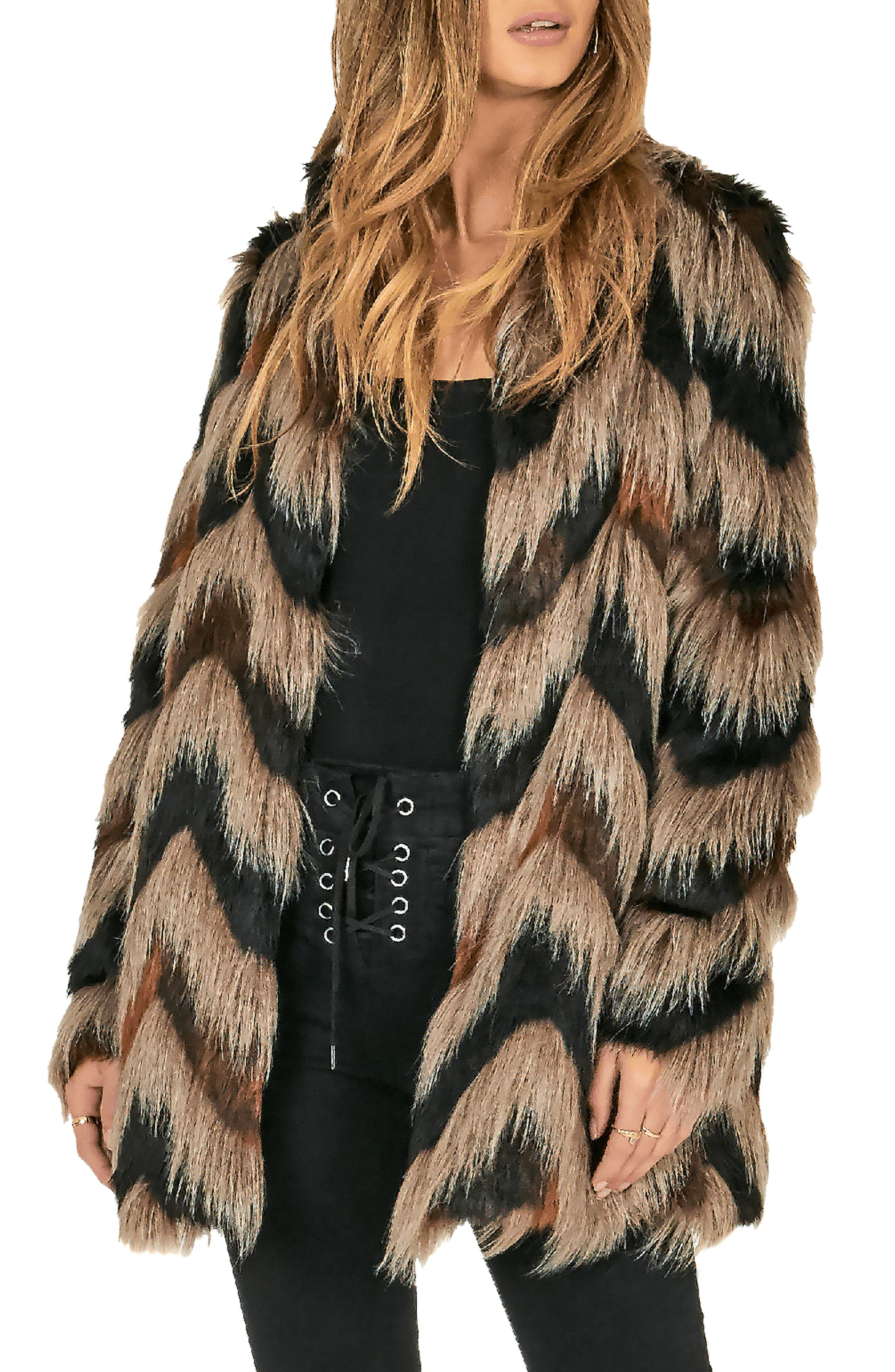 Waylon Faux Fur Jacket,                             Main thumbnail 1, color,                             001