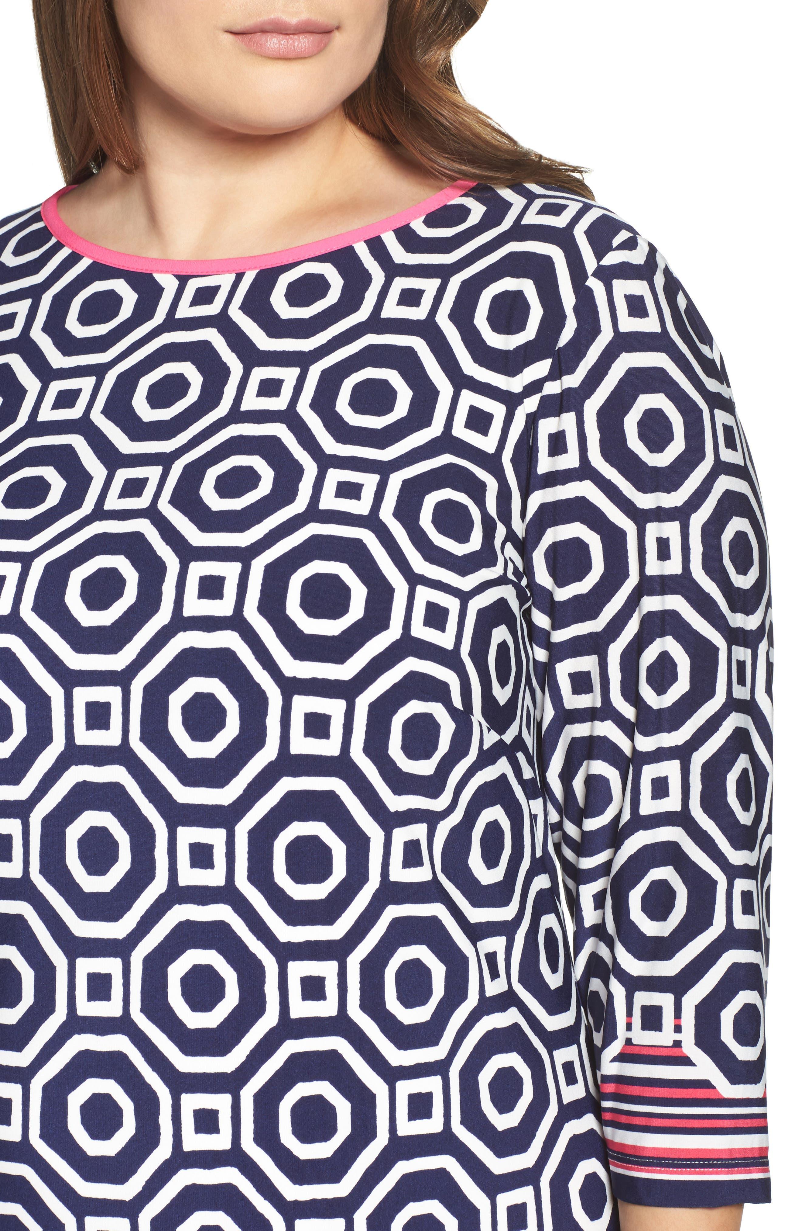Border Print Shift Dress,                             Alternate thumbnail 4, color,                             410
