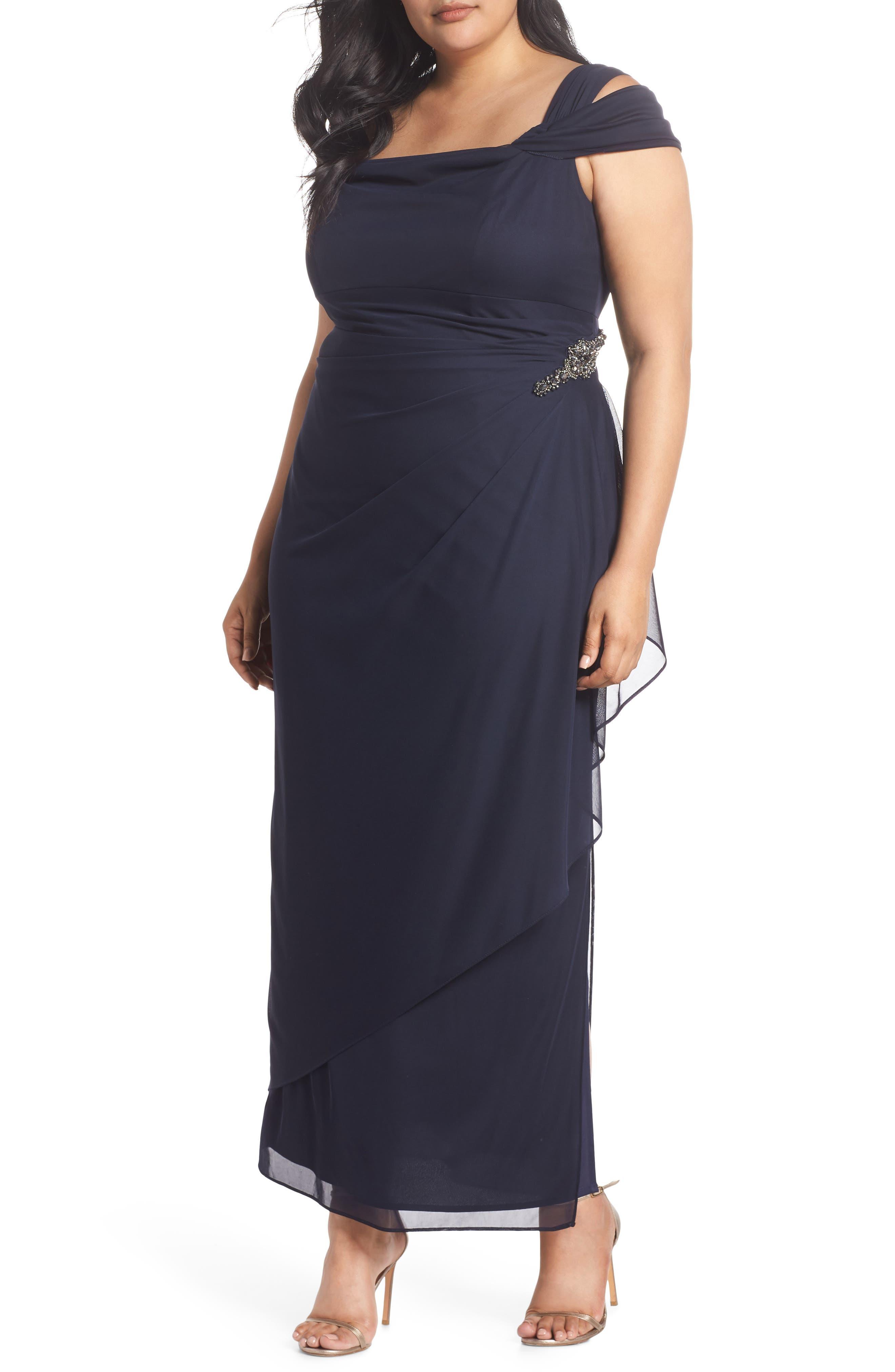Embellished Cold Shoulder Gown,                             Main thumbnail 1, color,                             NAVY