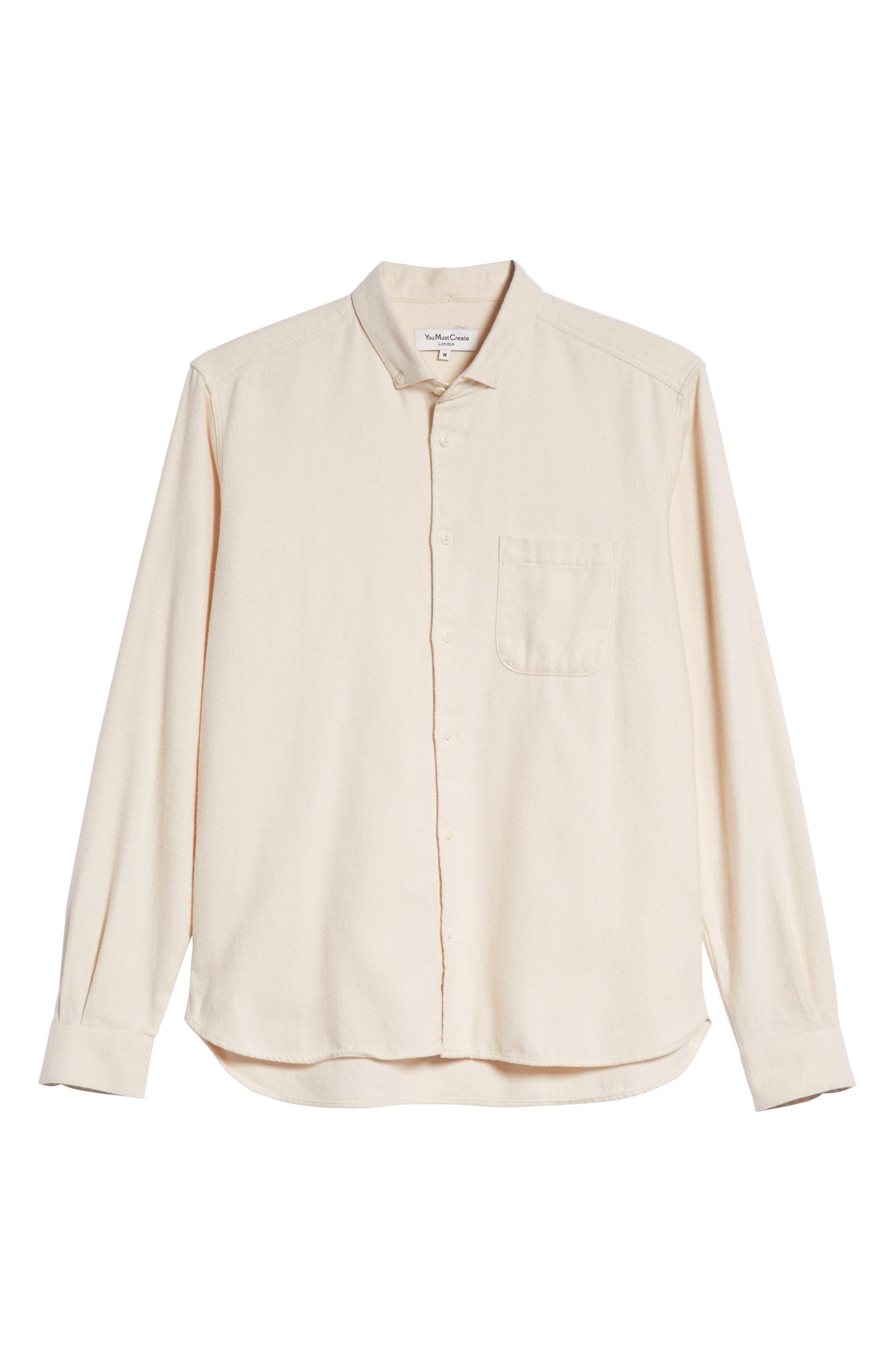 Marl Flannel Shirt,                             Alternate thumbnail 5, color,                             ECRU