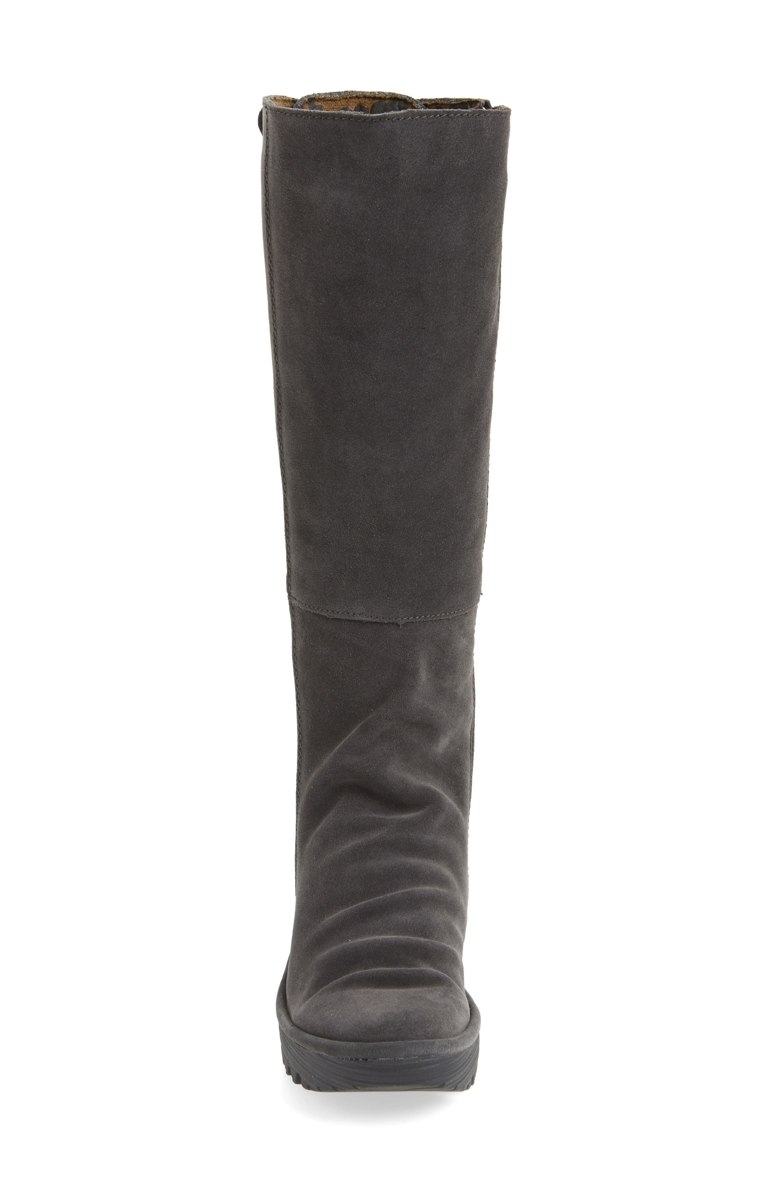 'Yust' Knee High Platform Wedge Boot,                             Alternate thumbnail 4, color,                             002