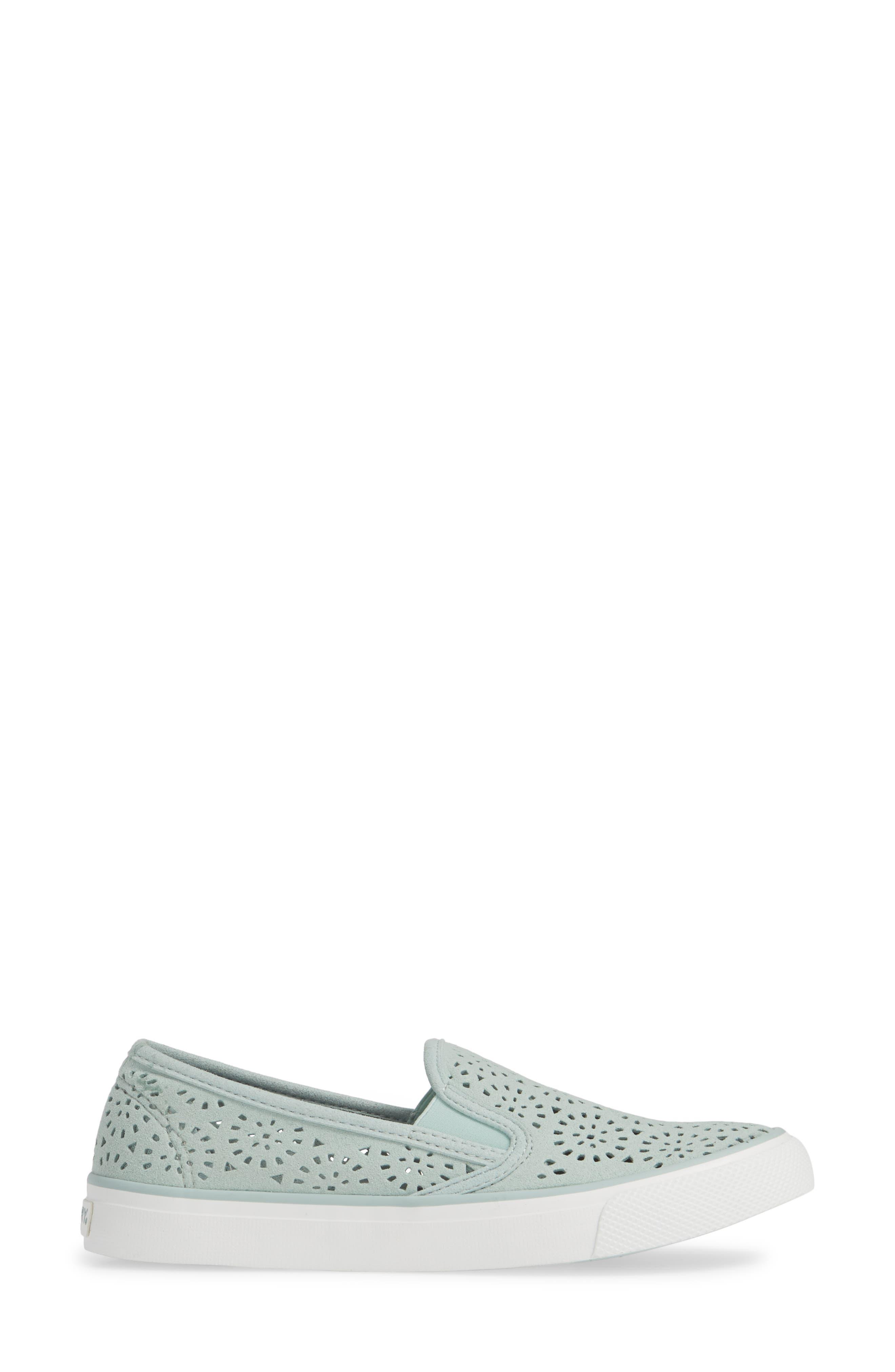 Seaside Nautical Perforated Slip-On Sneaker,                             Alternate thumbnail 3, color,                             MINT NUBUCK LEATHER