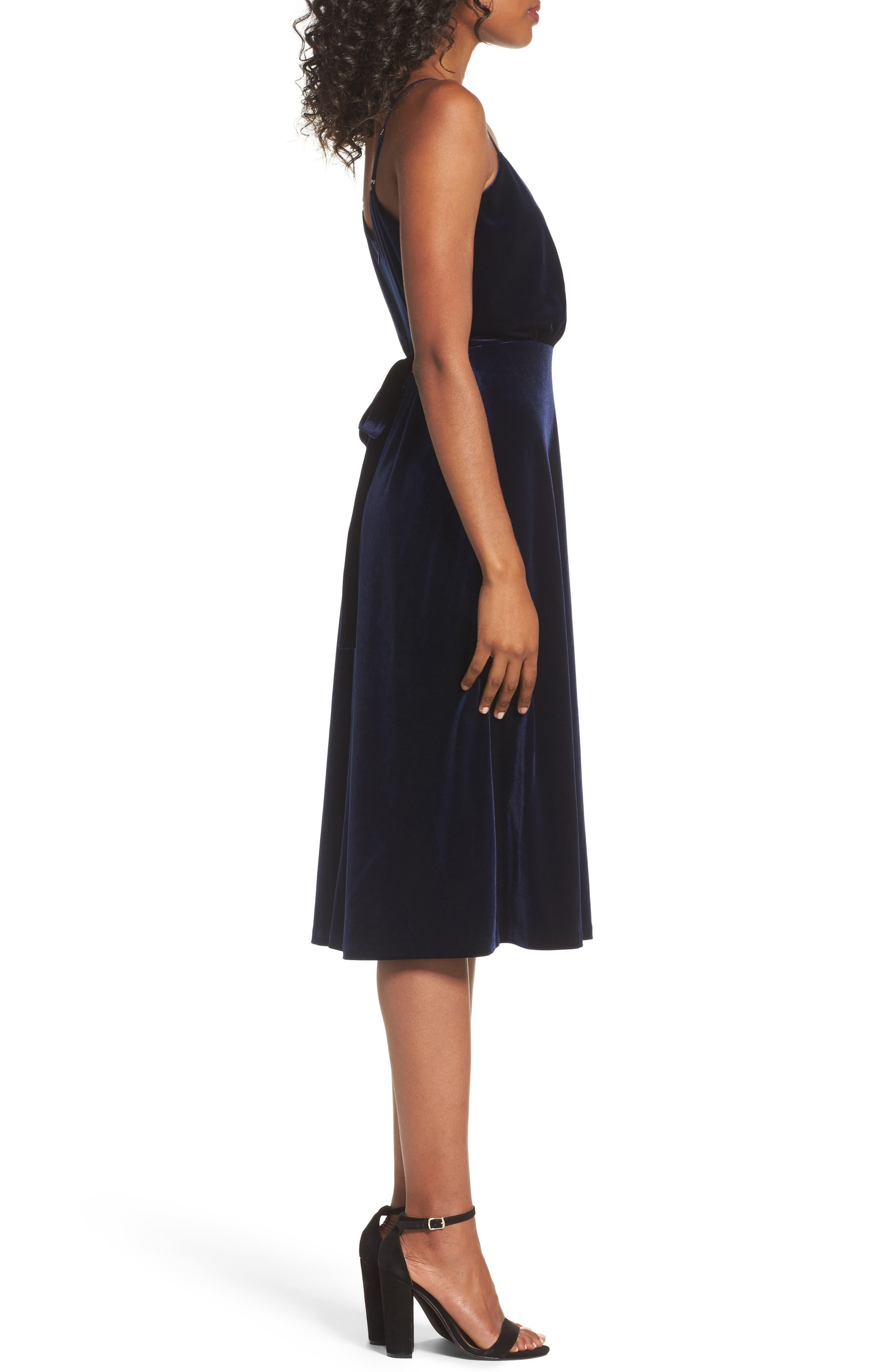 Velvet Faux Wrap Midi Dress,                             Alternate thumbnail 3, color,                             NAVY