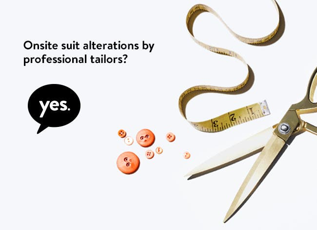 Onsite suit alterations by professional tailors? Yes.