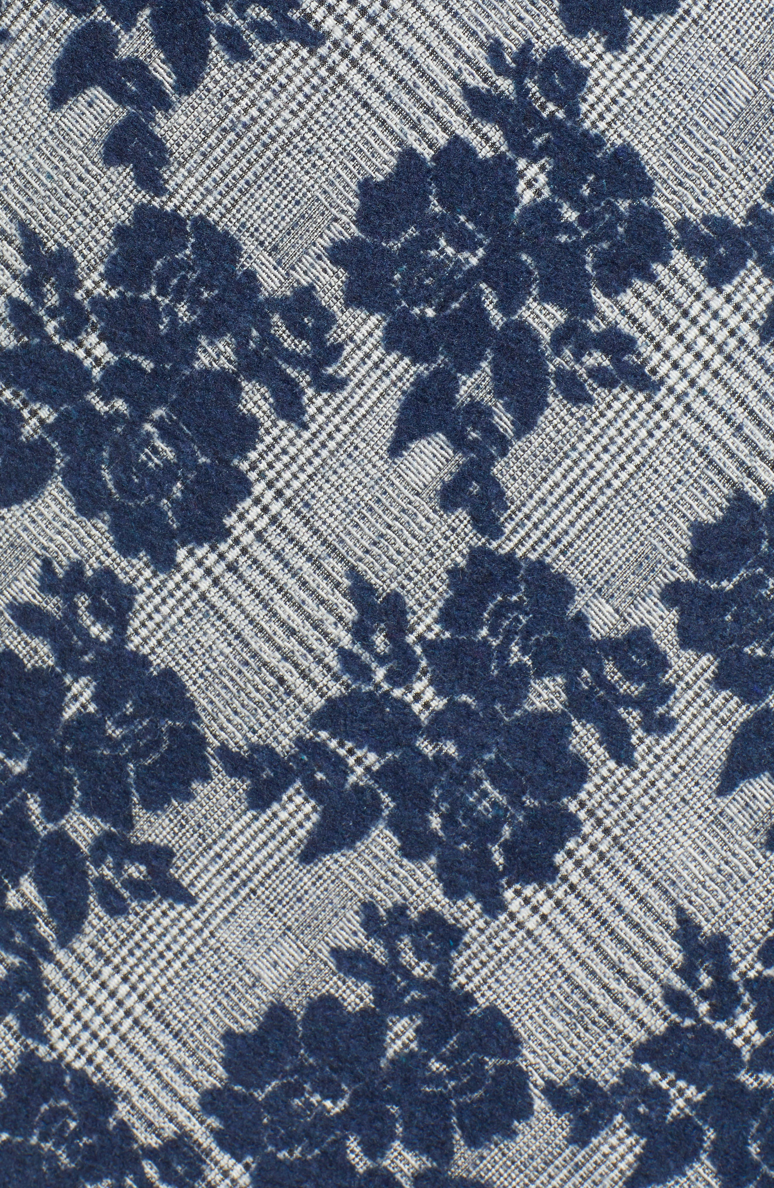 Floral Plaid Asymmetrical Skirt,                             Alternate thumbnail 5, color,                             BLUE PLAID FLORAL