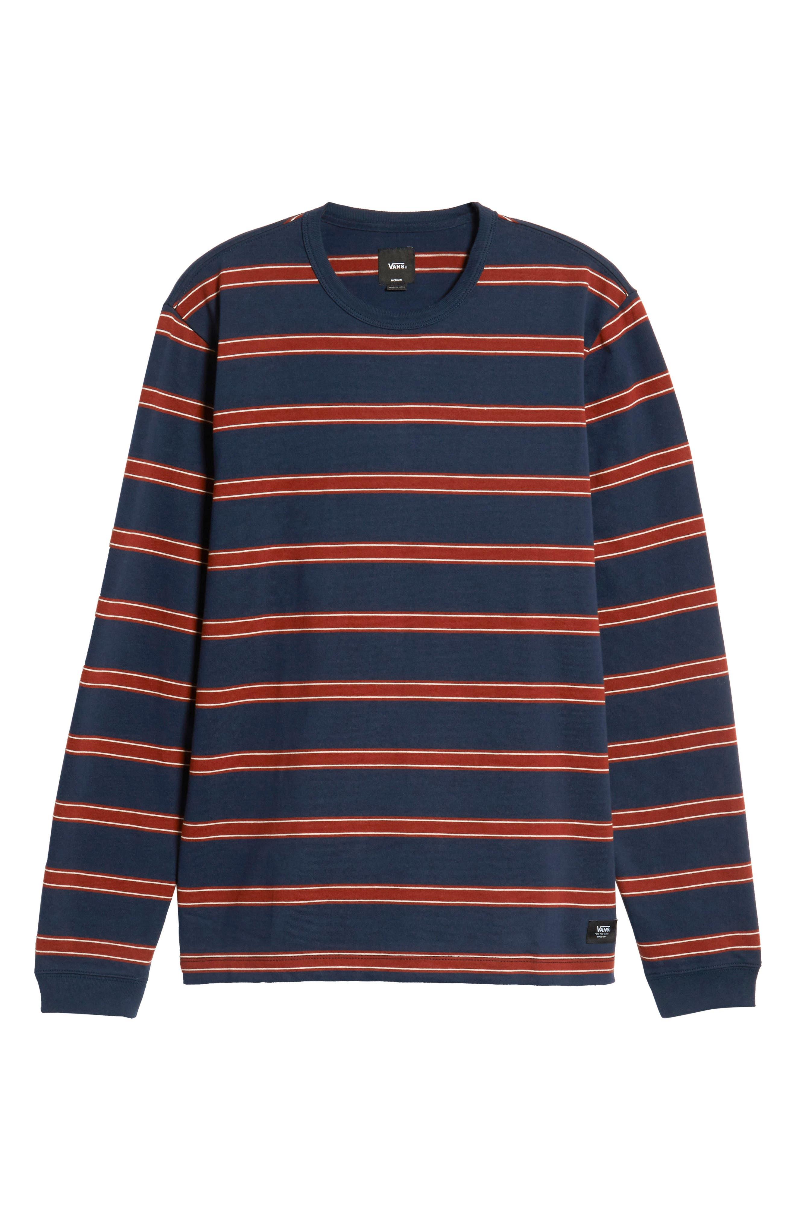 Watson Striped Long Sleeve T-Shirt,                             Alternate thumbnail 6, color,                             DRESS BLUES