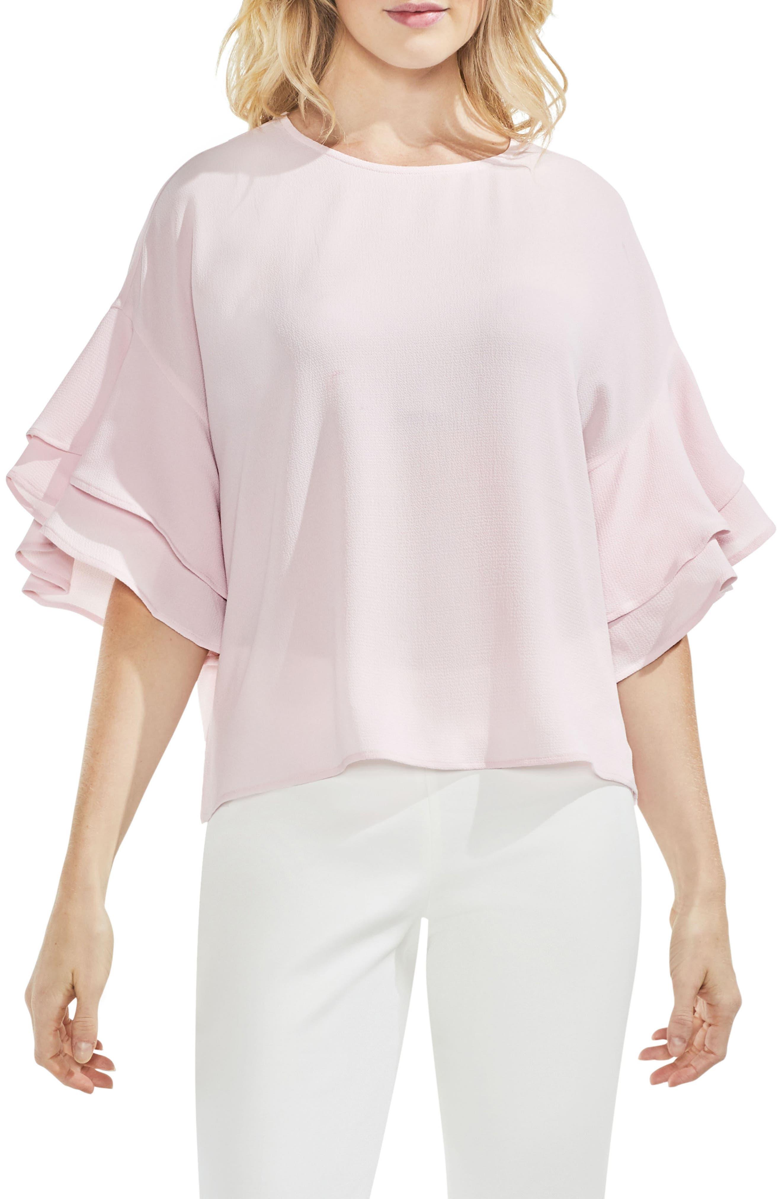 Drop Shoulder Ruffle Sleeve Blouse,                             Main thumbnail 6, color,