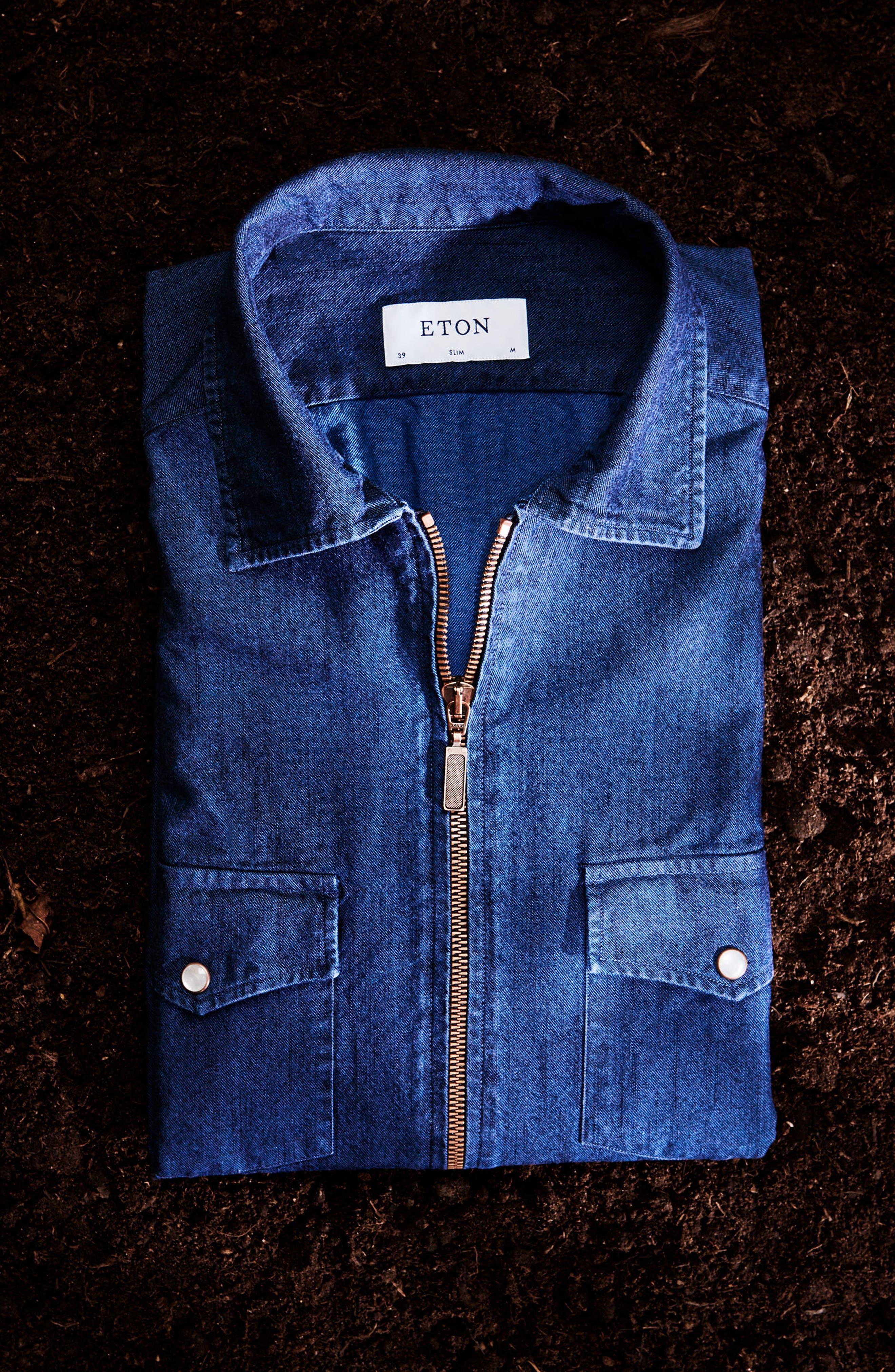 Slim Fit Chambray Zip Sport Shirt Jacket,                             Alternate thumbnail 3, color,                             400