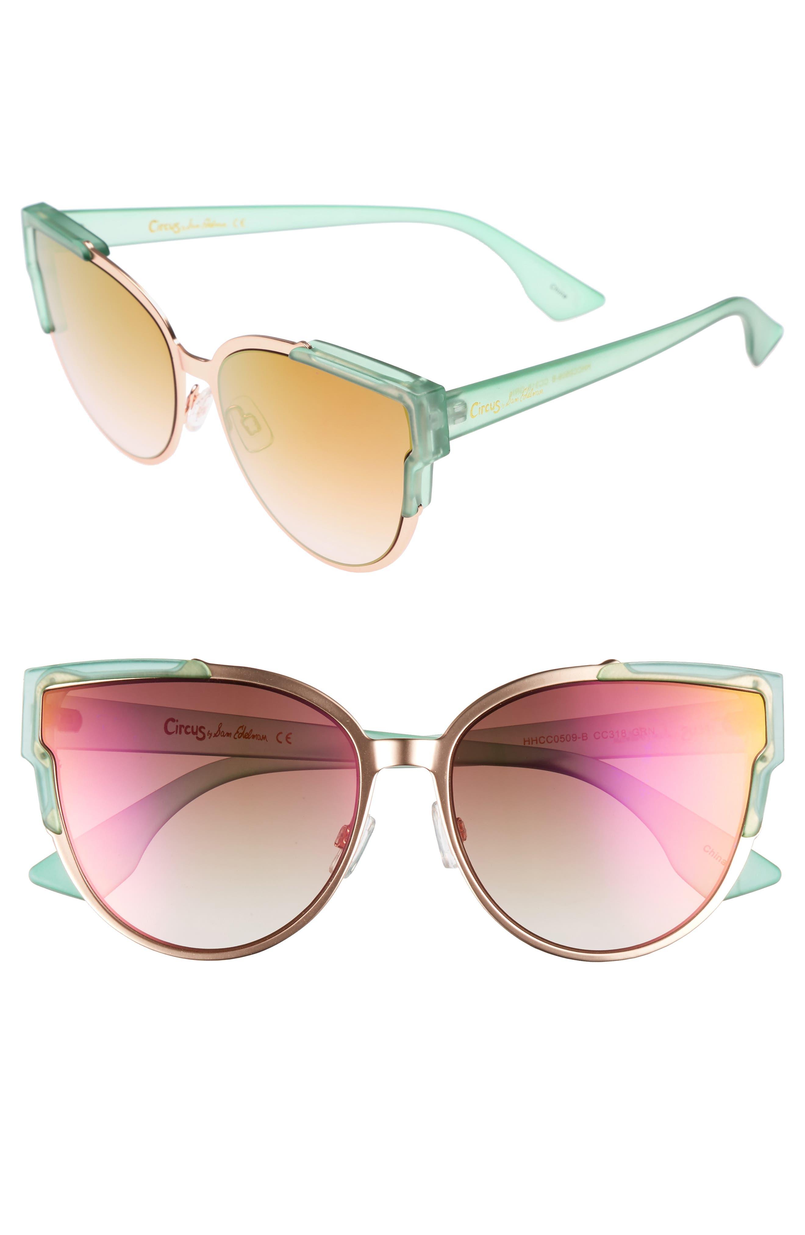56mm Combo Cat Eye Sunglasses,                             Main thumbnail 3, color,