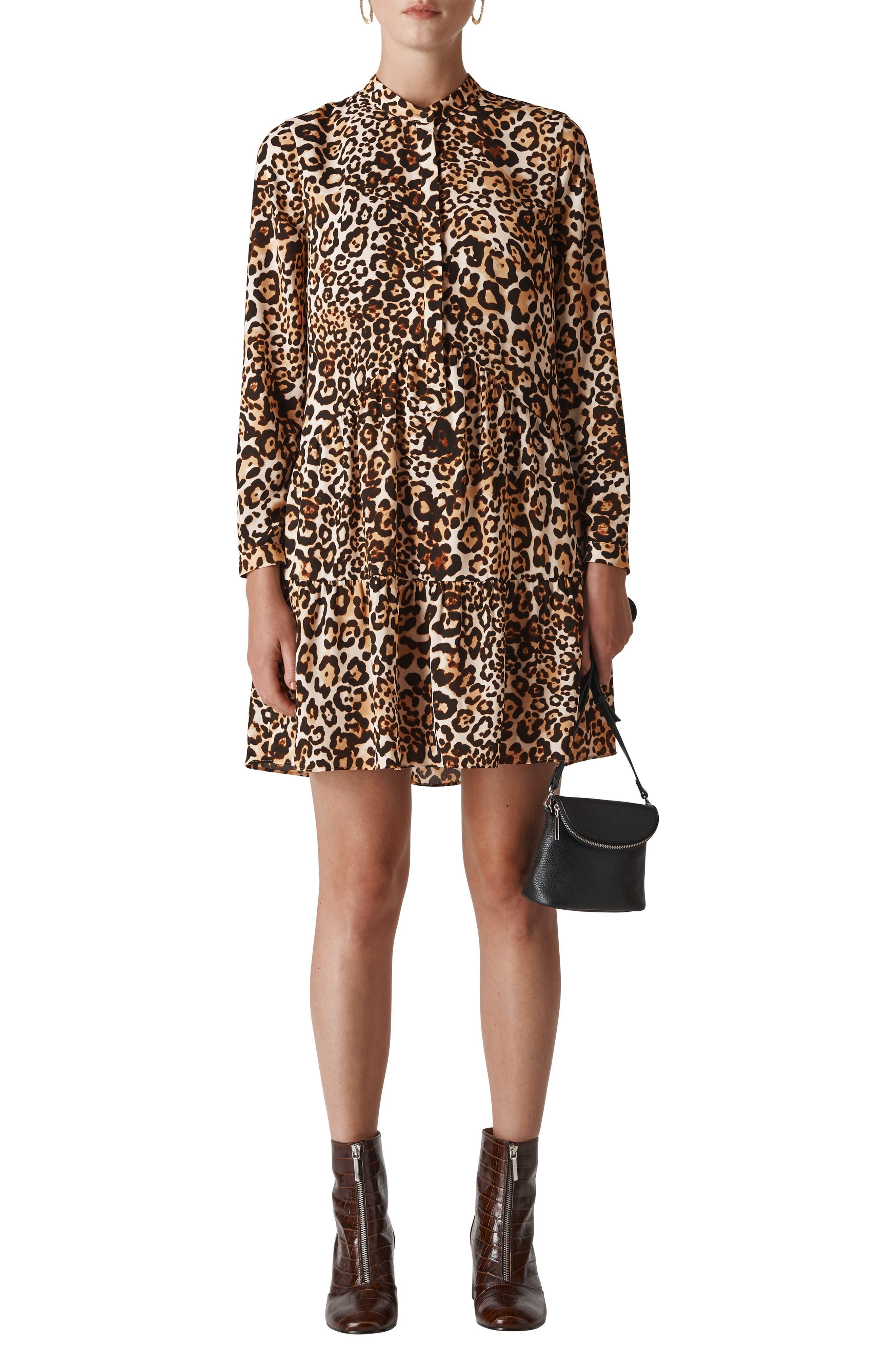 Leopard Print Shirtdress,                             Main thumbnail 1, color,                             LEOPARD PRINT