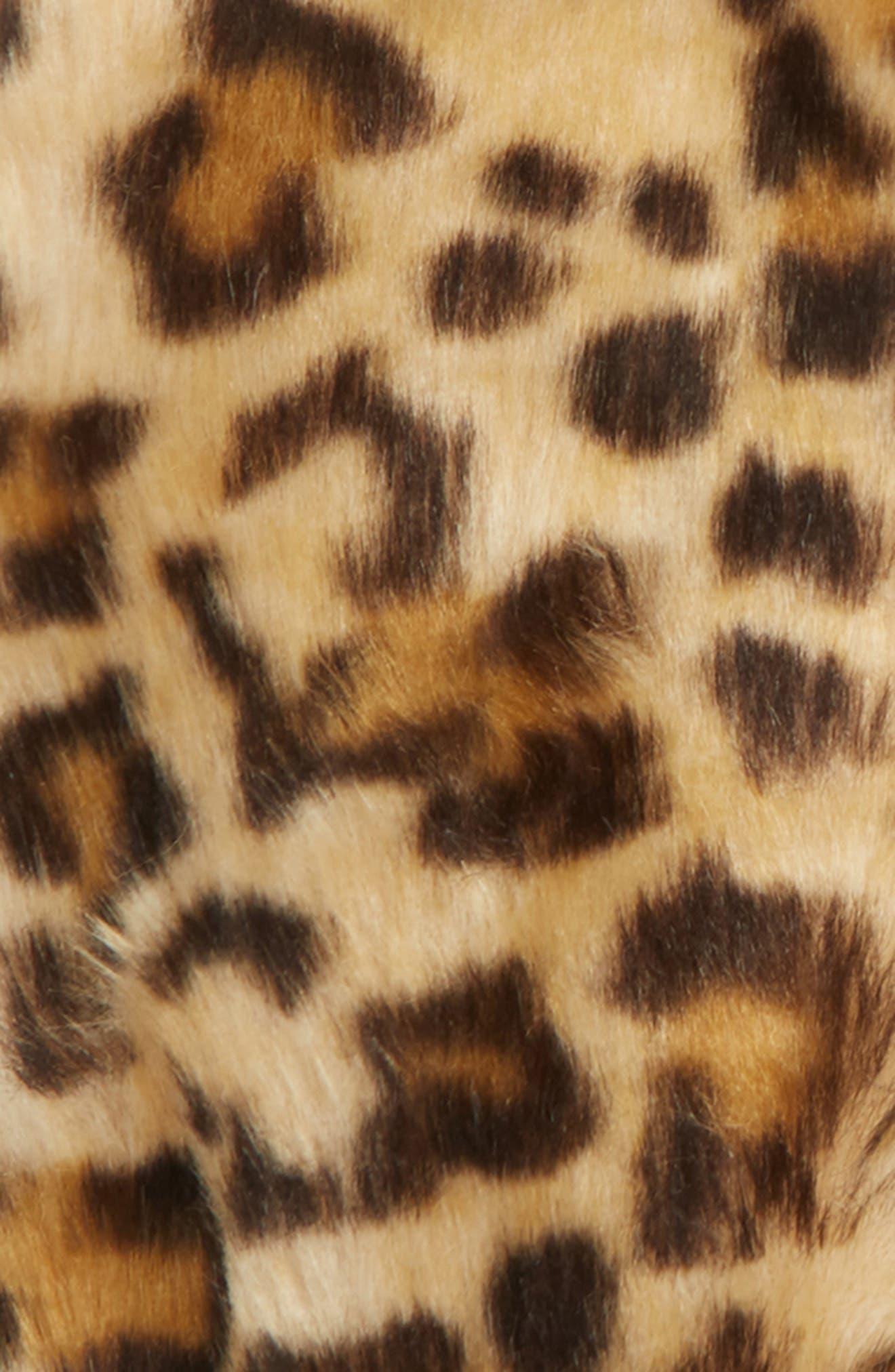 Leopard Print Faux Fur Mittens,                             Alternate thumbnail 2, color,                             BROWN MULTI