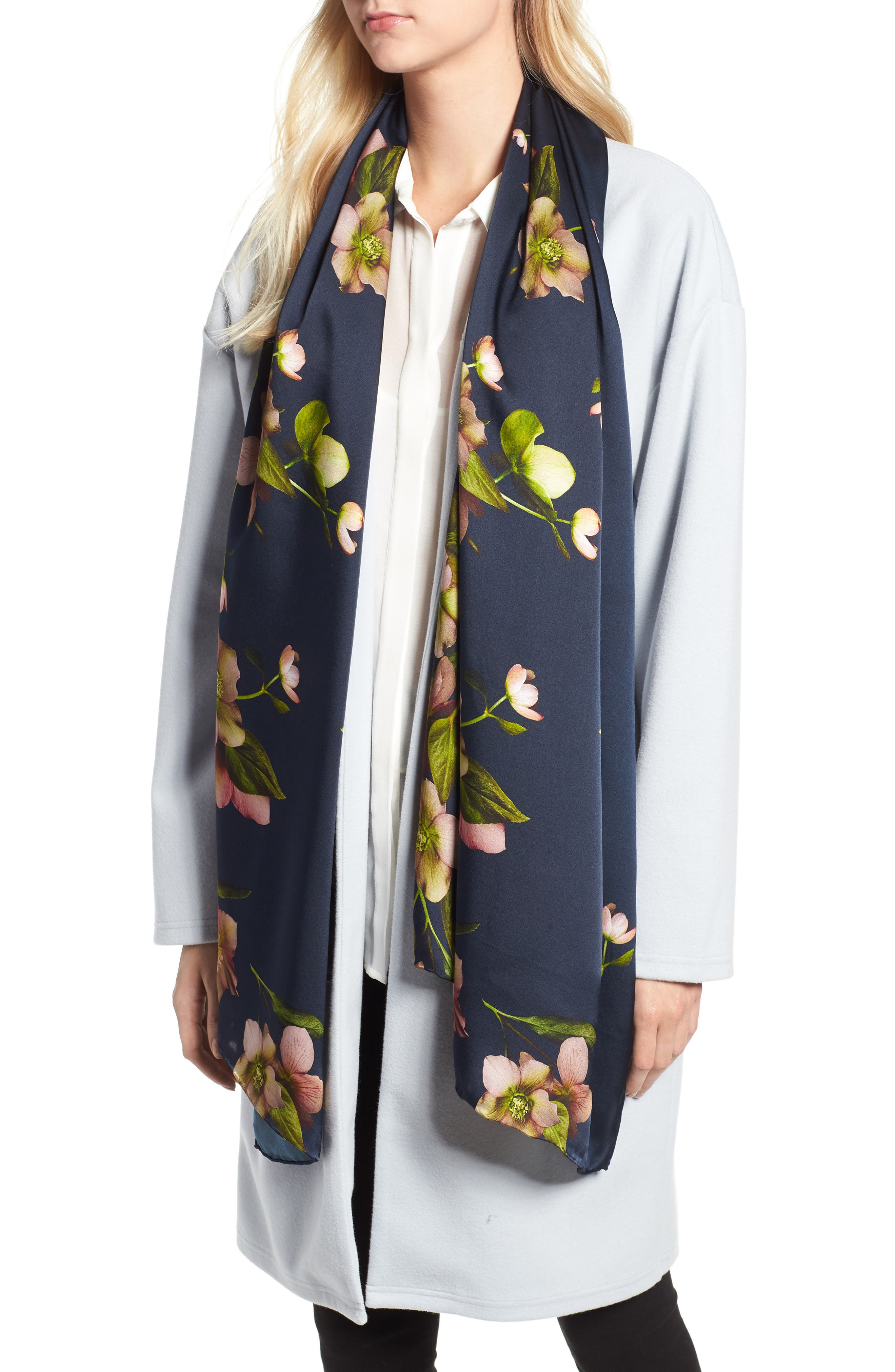 Arboretum Long Silk Stain Scarf,                         Main,                         color, 402