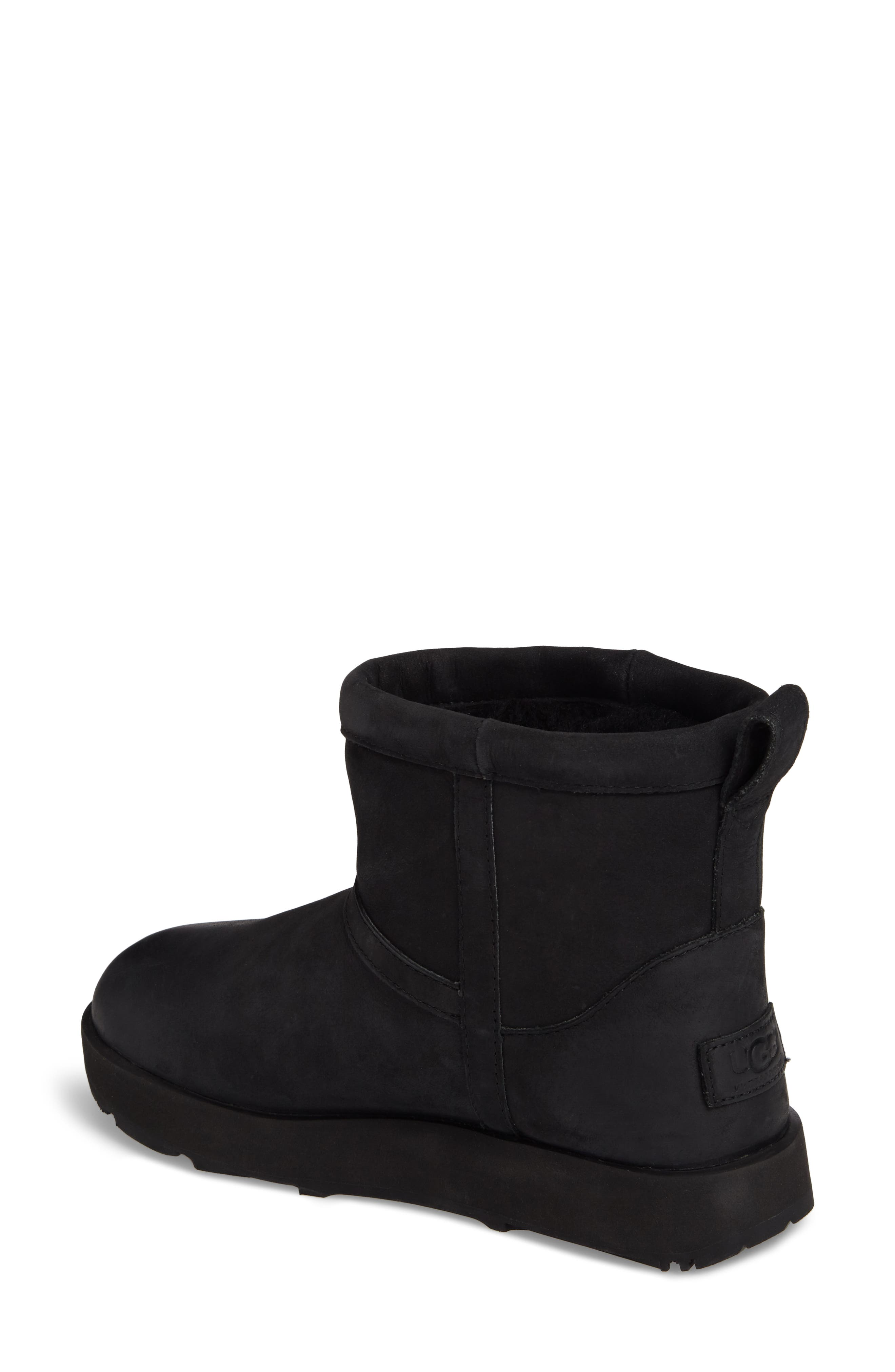 Classic Mini Genuine Shearling Lined Waterproof Boot,                             Alternate thumbnail 2, color,                             BLACK LEATHER