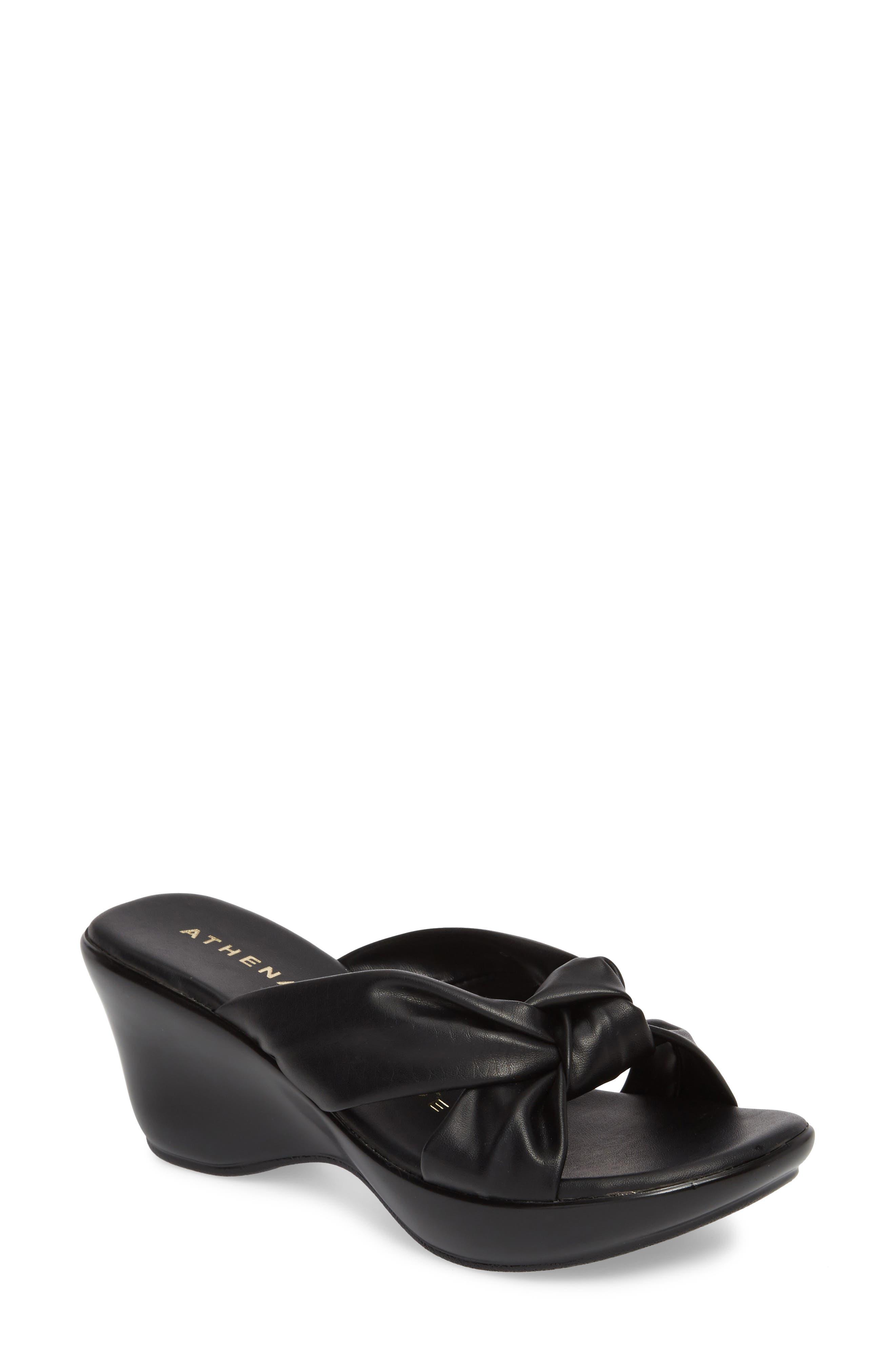 Soraya Wedge Sandal,                         Main,                         color, BLACK FABRIC
