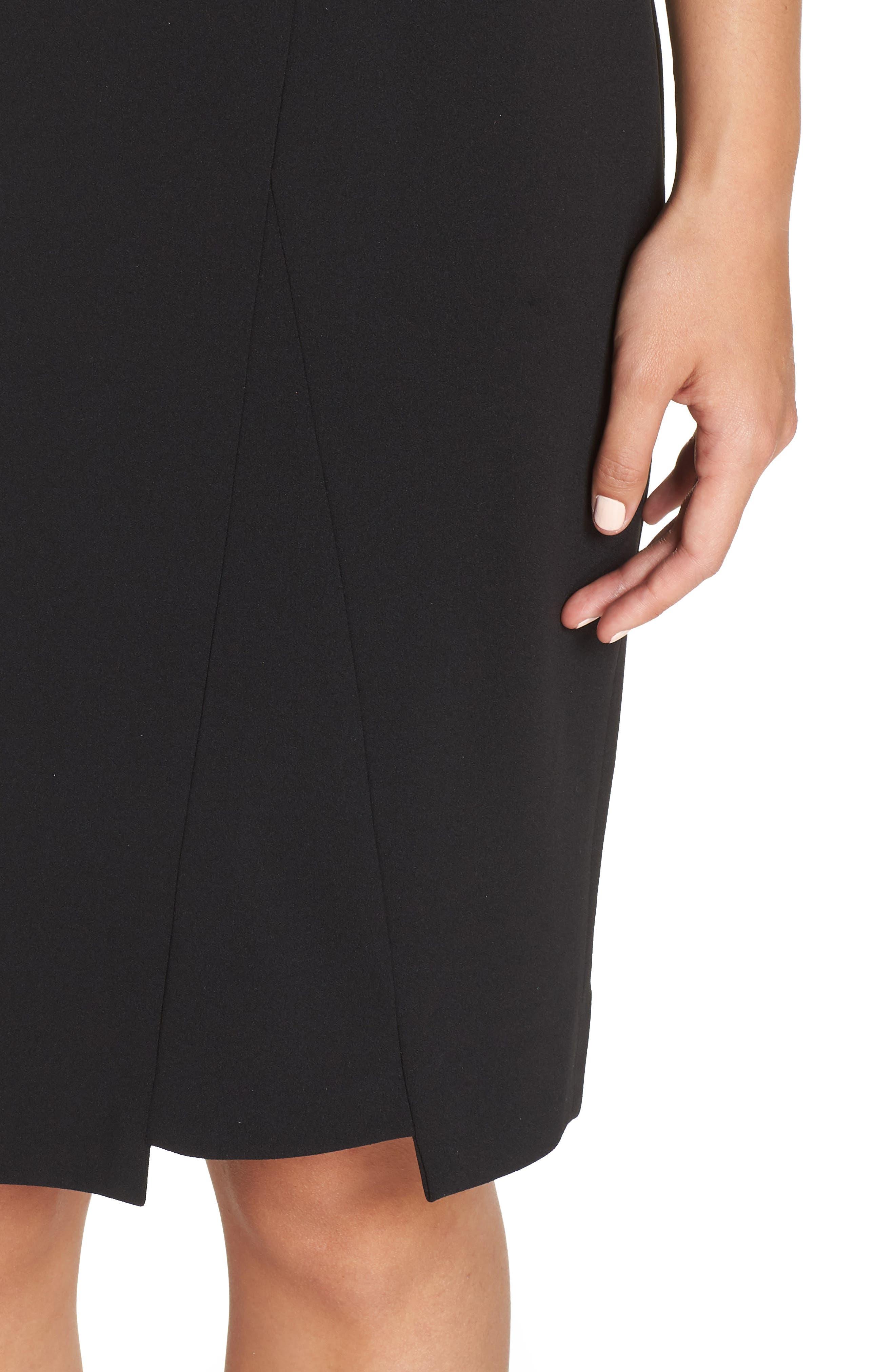Scuba Crepe Dress,                             Alternate thumbnail 4, color,                             BLACK