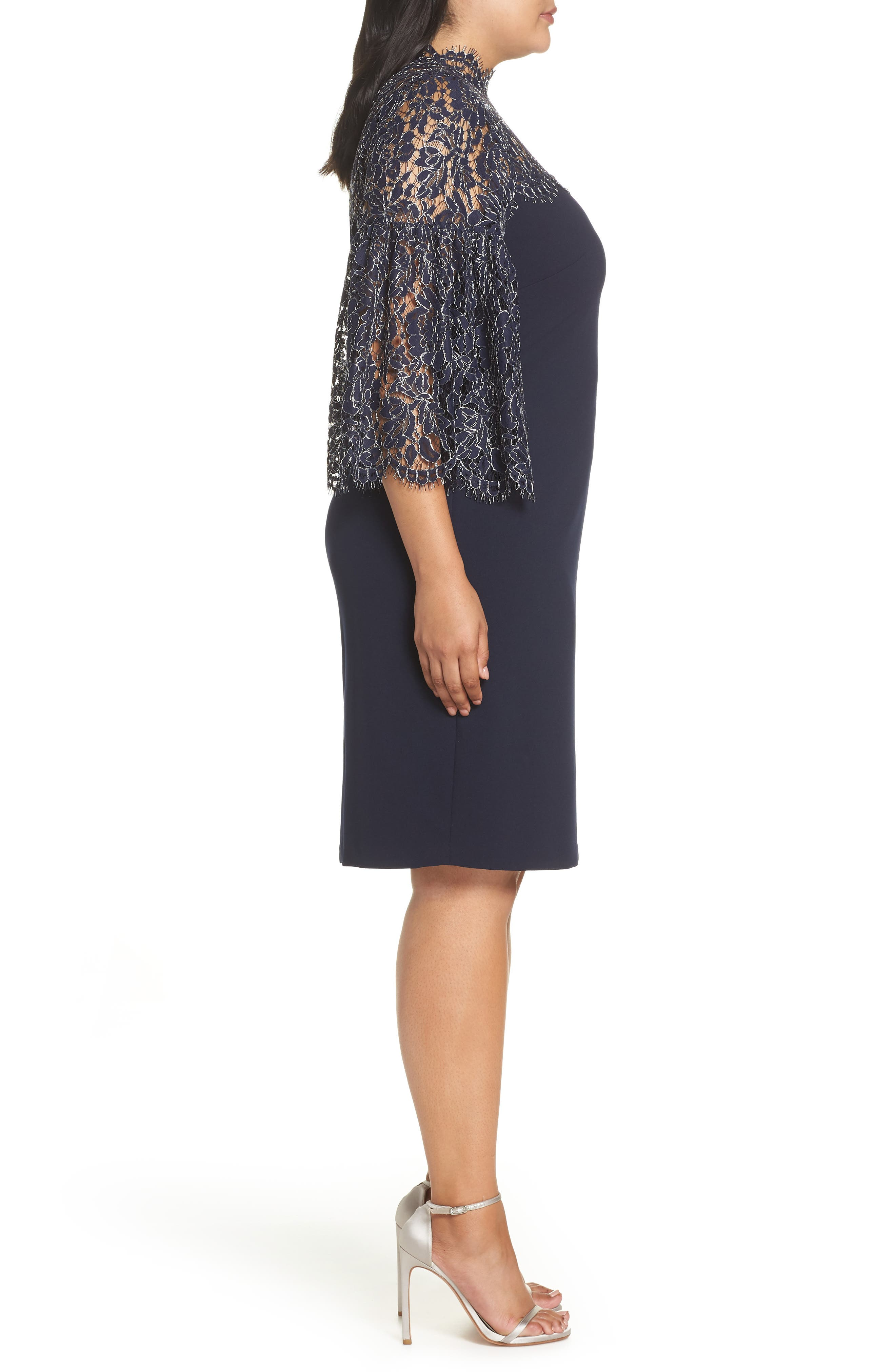 Lace Yoke Scuba Crepe Dress,                             Alternate thumbnail 3, color,                             NAVY