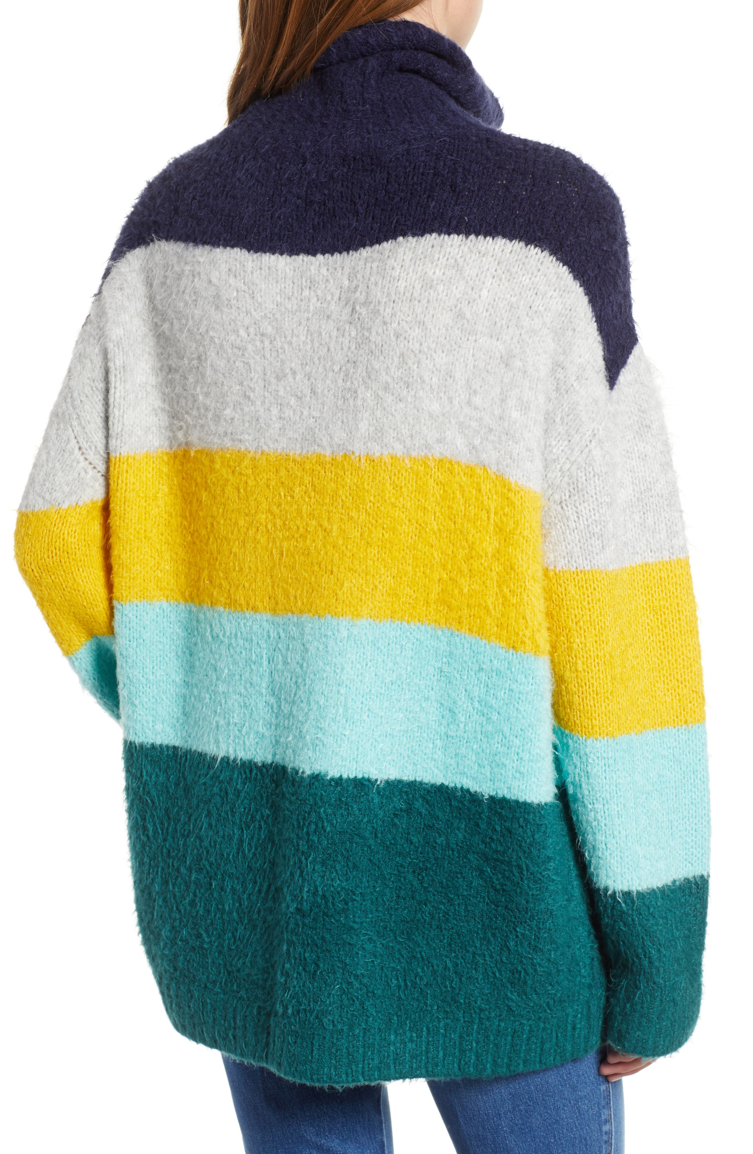 Bold Stripe Oversize Sweater,                             Alternate thumbnail 2, color,                             TEAL PACIFIC WIDE STRIPE