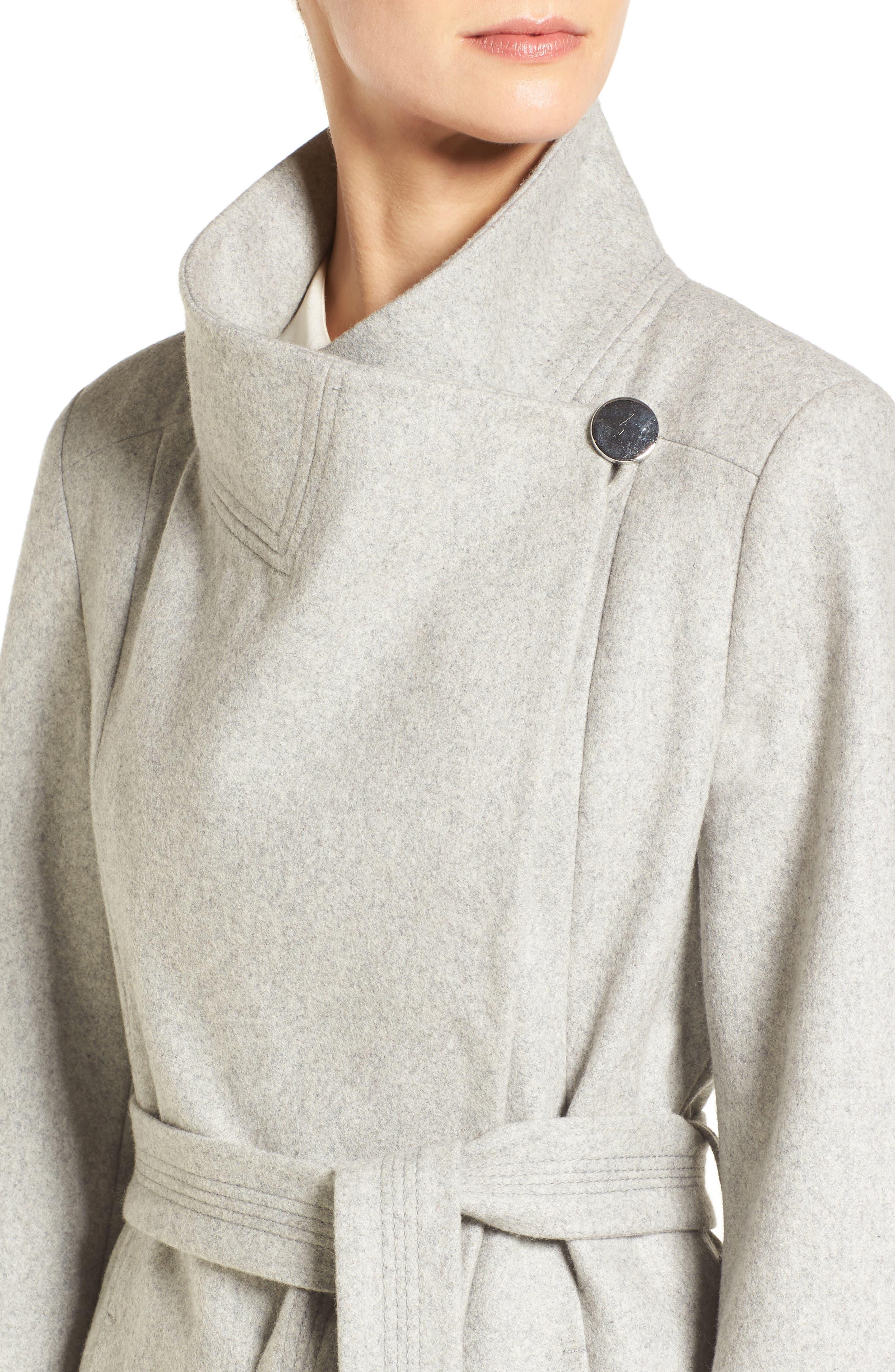 Fencer Melton Wool Maxi Coat,                             Alternate thumbnail 4, color,                             GLACIER