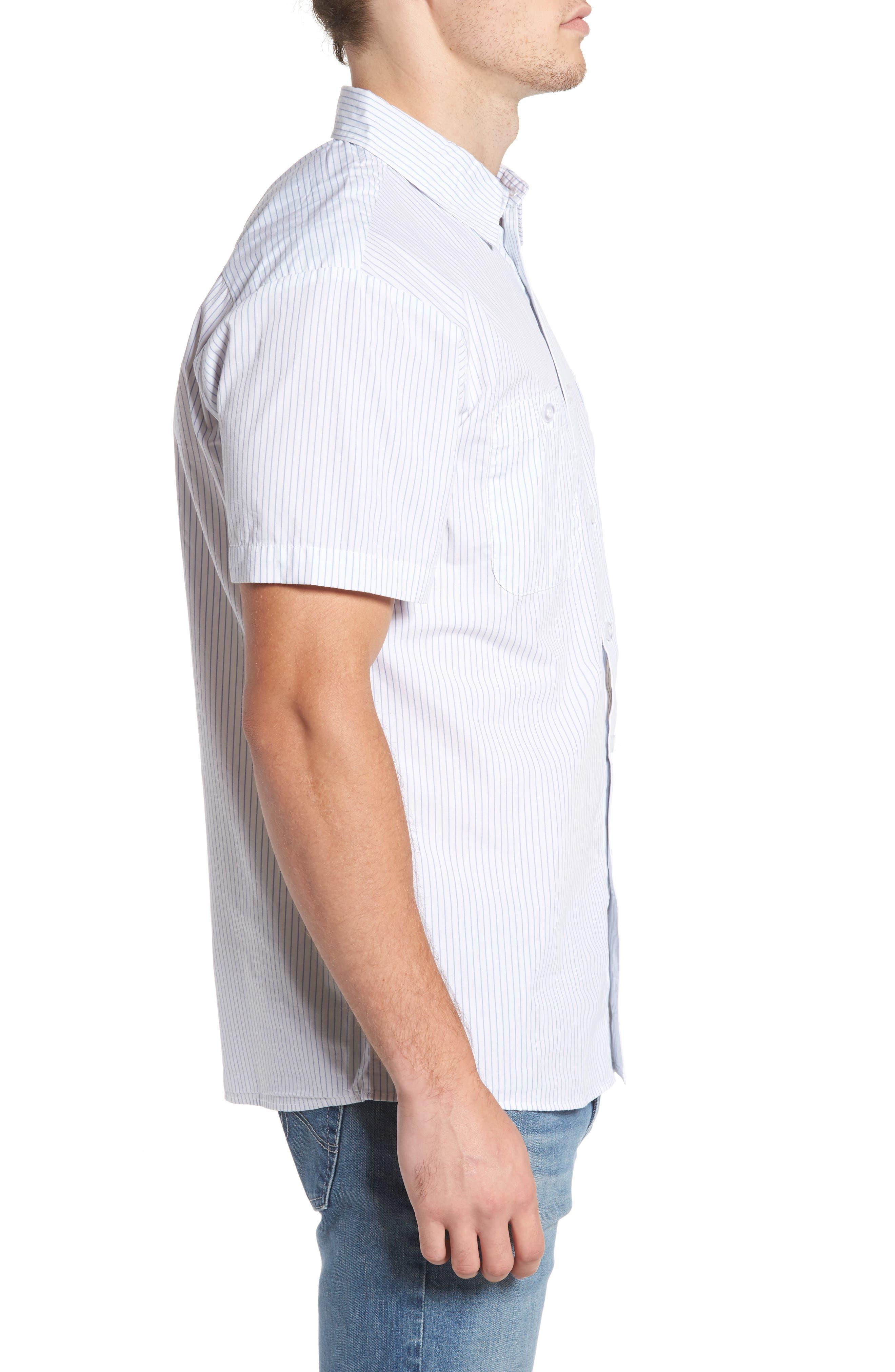 Reeve Pinstripe Woven Shirt,                             Alternate thumbnail 3, color,                             100