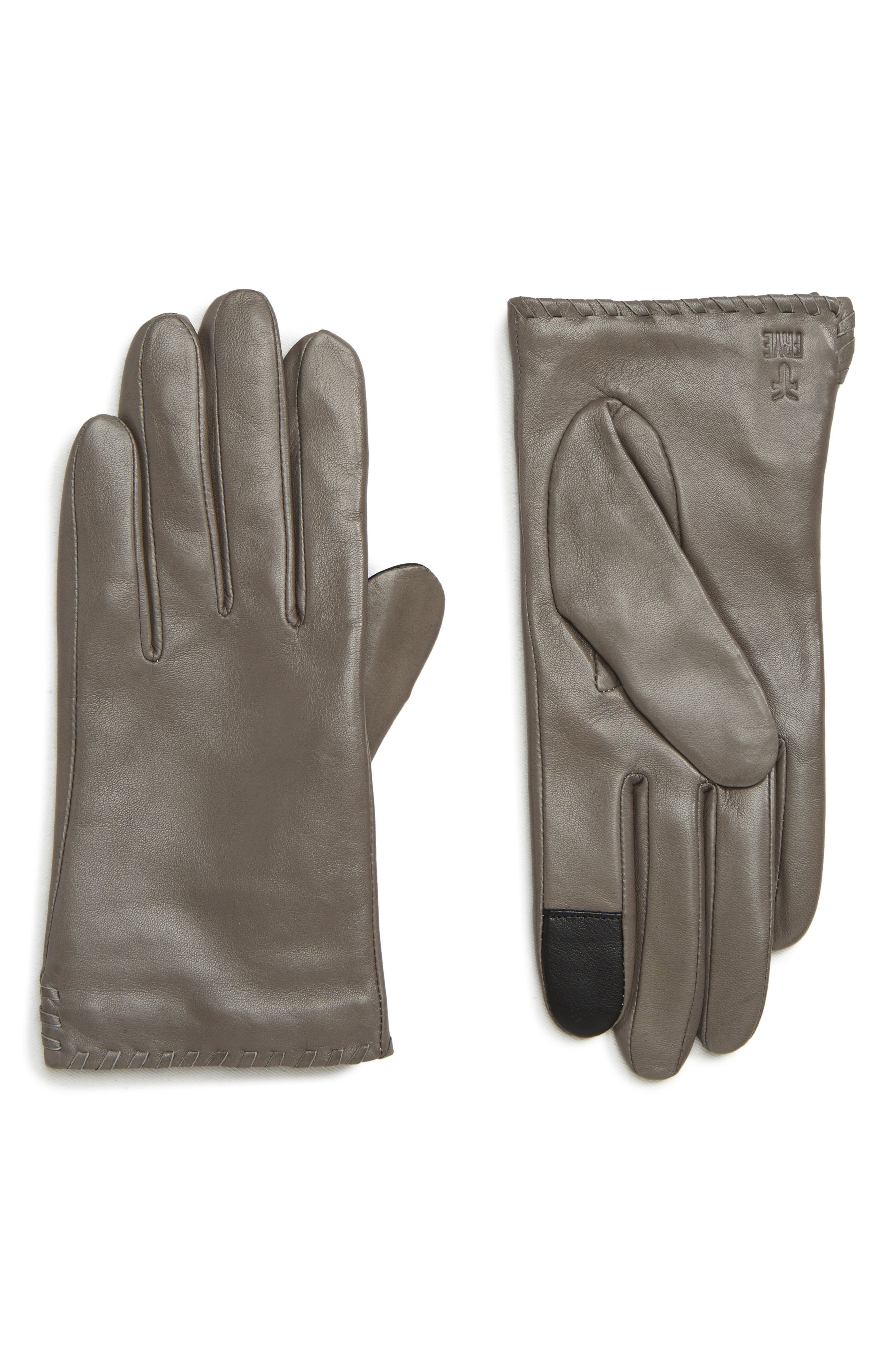 Frye Nora Whipstitch Lambskin Leather Touchscreen Gloves, Grey