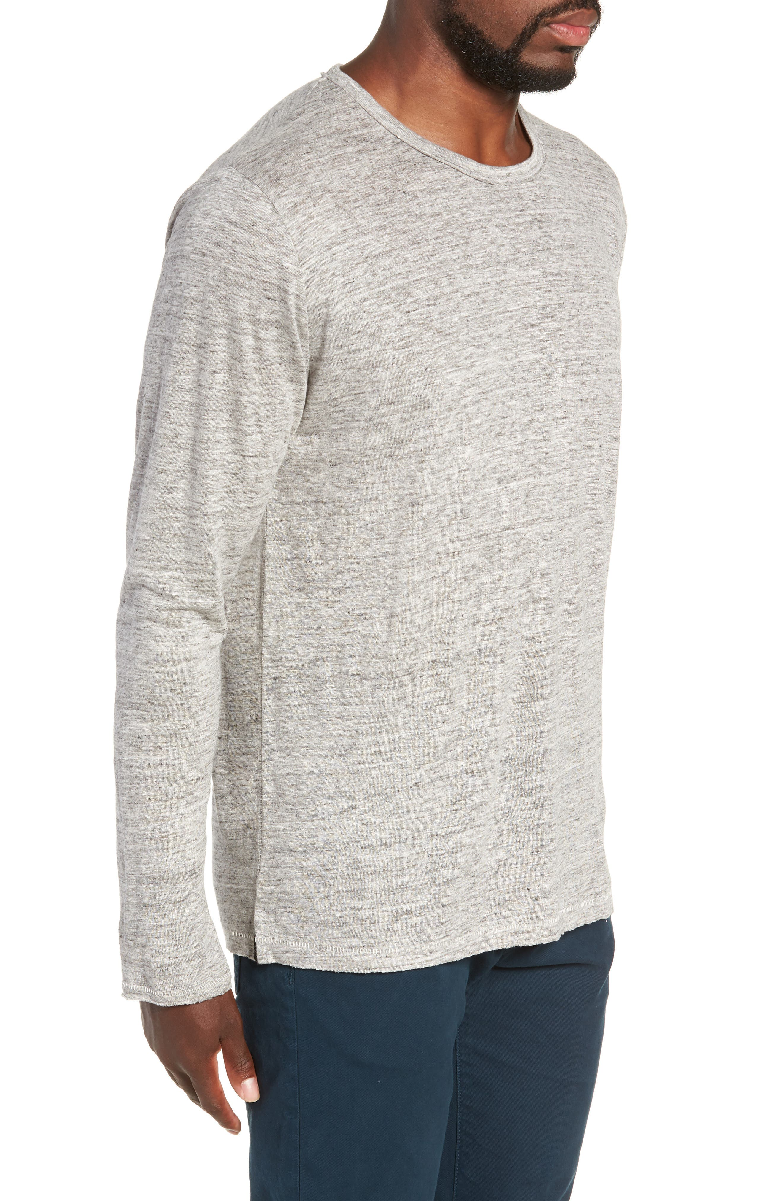 Owen Linen Long Sleeve T-Shirt,                             Alternate thumbnail 3, color,                             020