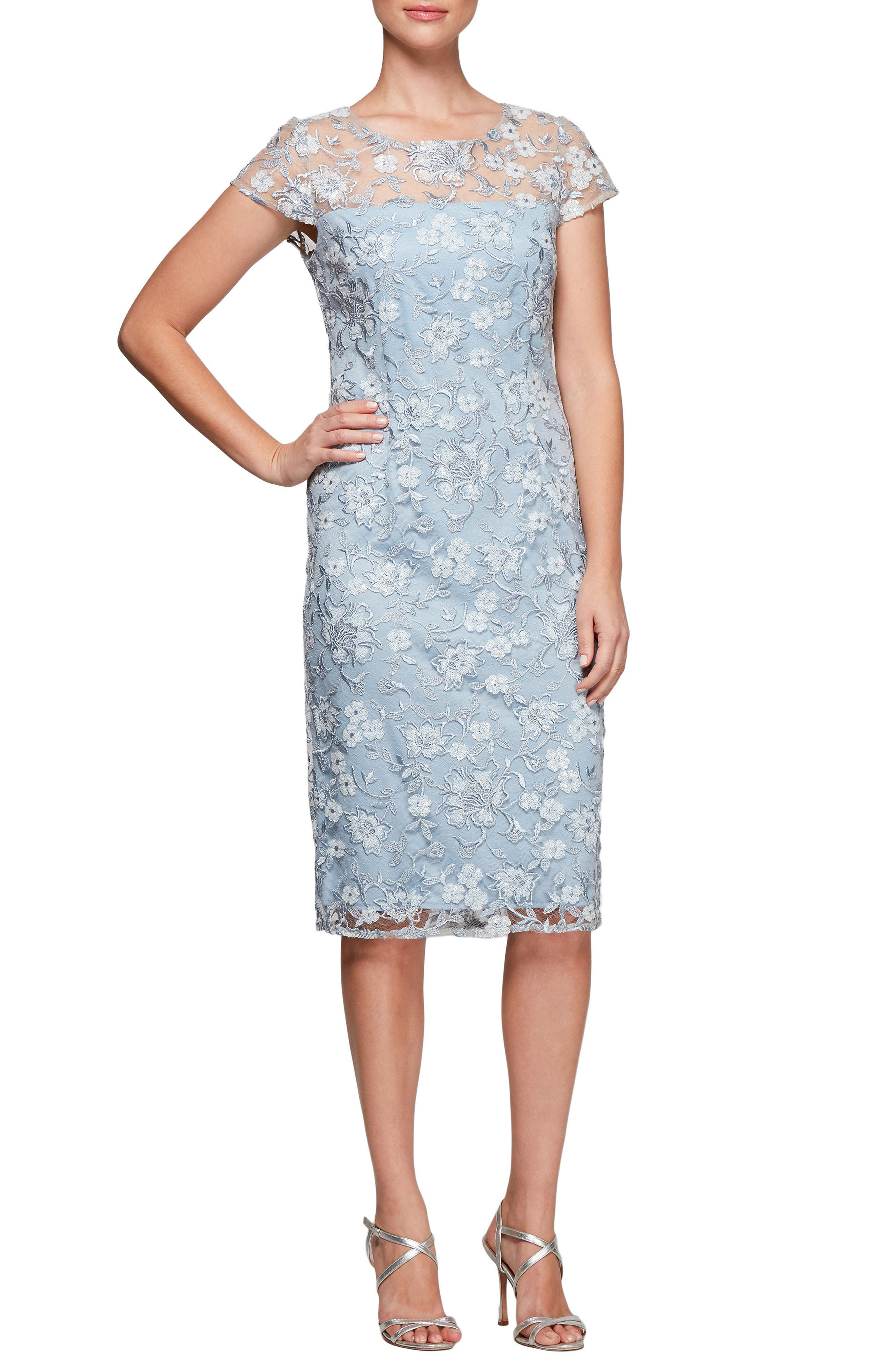 Floral Embroidered Shift Dress,                             Main thumbnail 1, color,                             LIGHT BLUE