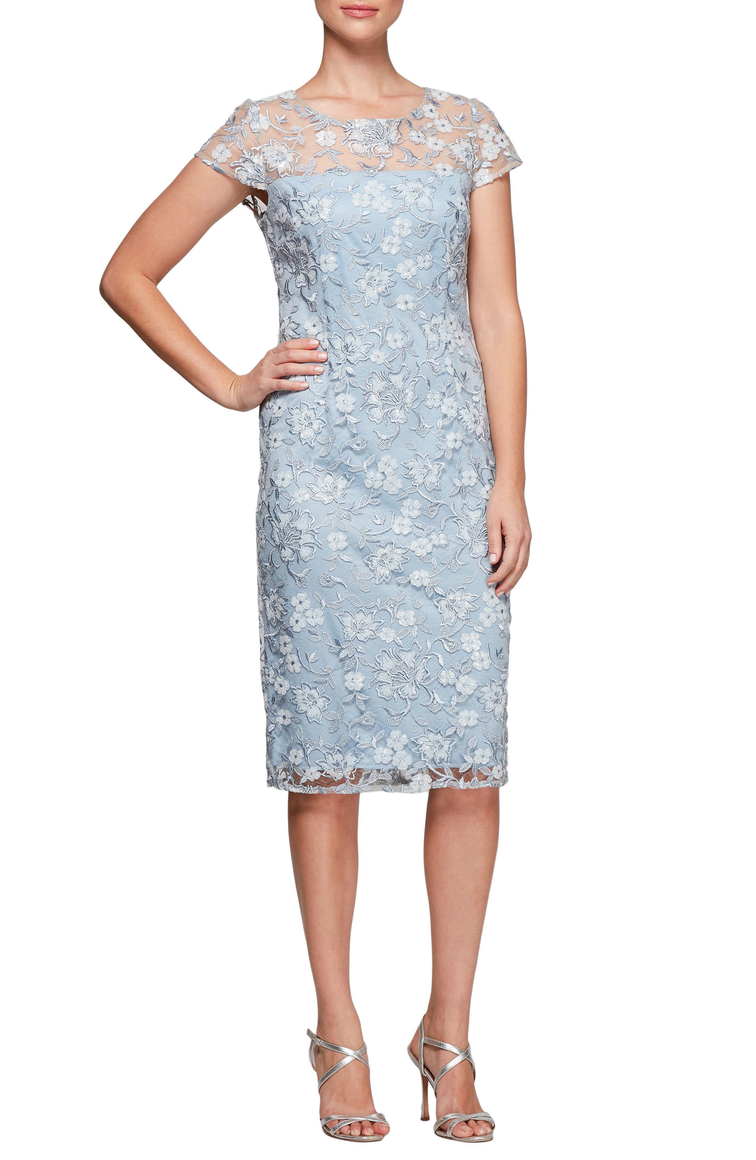 Floral Embroidered Shift Dress,                         Main,                         color, LIGHT BLUE