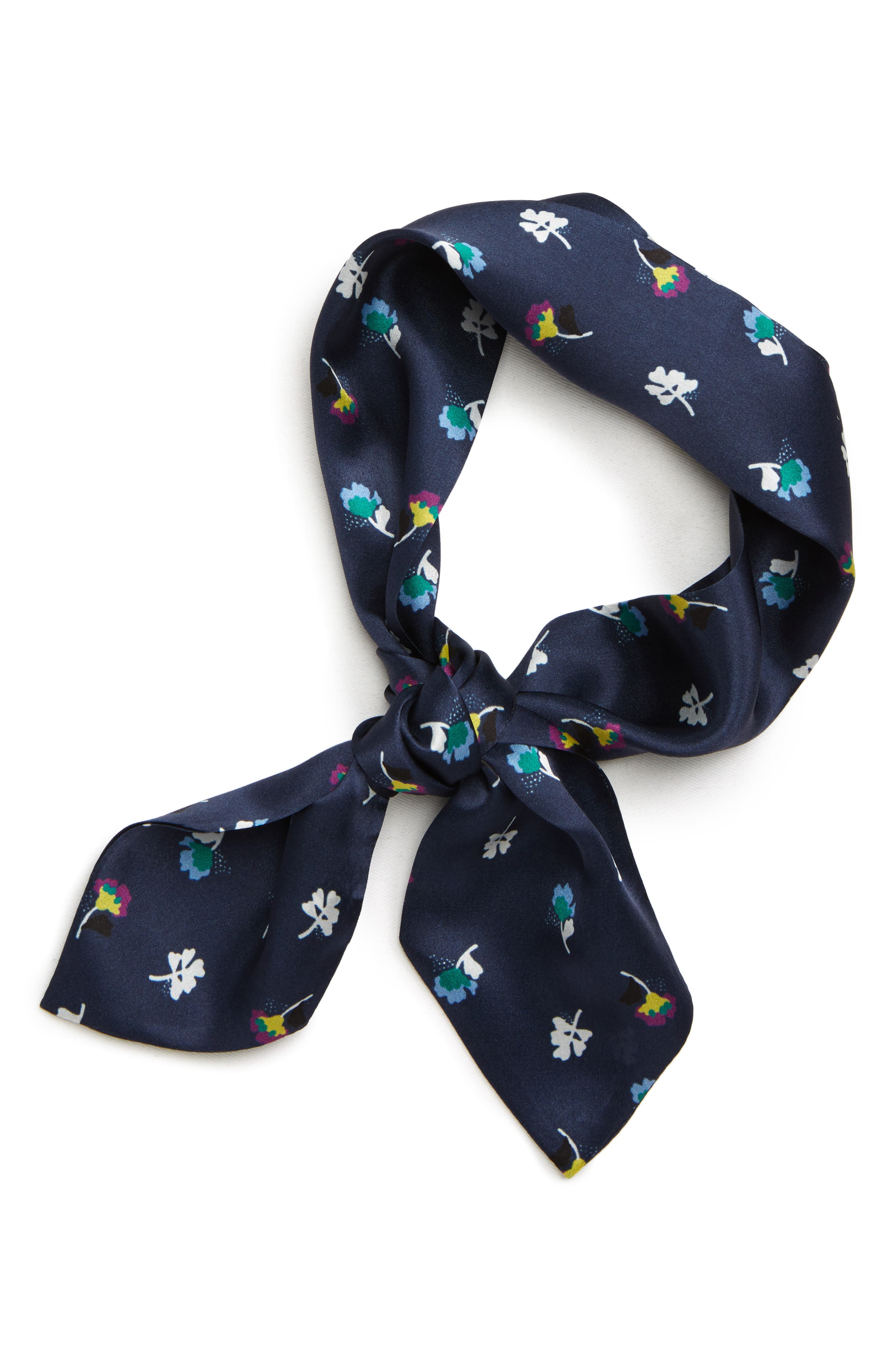 Floral Silk Tie Scarf,                             Alternate thumbnail 2, color,                             NAVY CHARM FLORAL