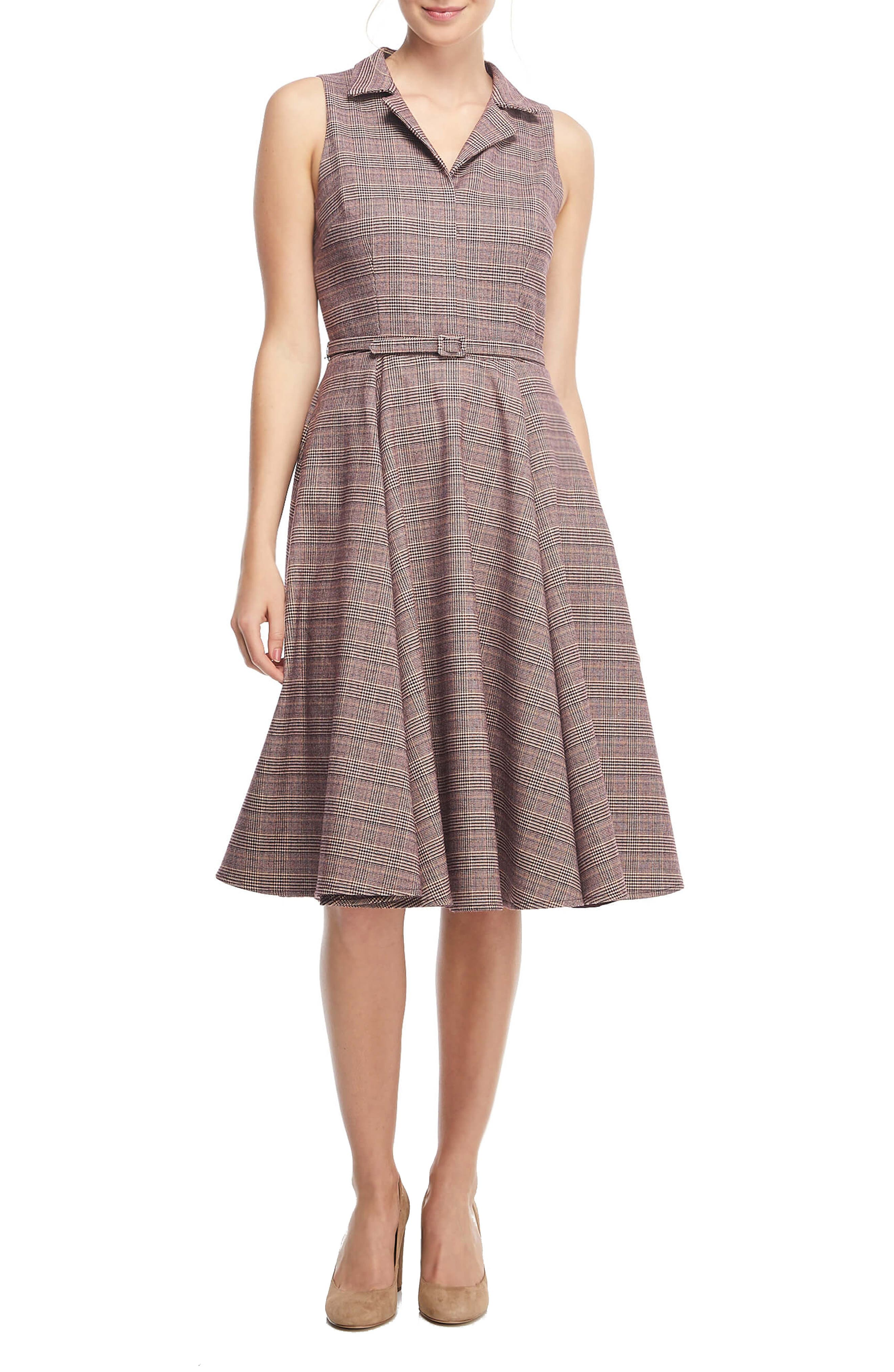 Plus Size Swing Dresses, Vintage Dresses Womens Gal Meets Glam Collection Rita Menswear Plaid Fit  Flare Shirtdress $131.98 AT vintagedancer.com