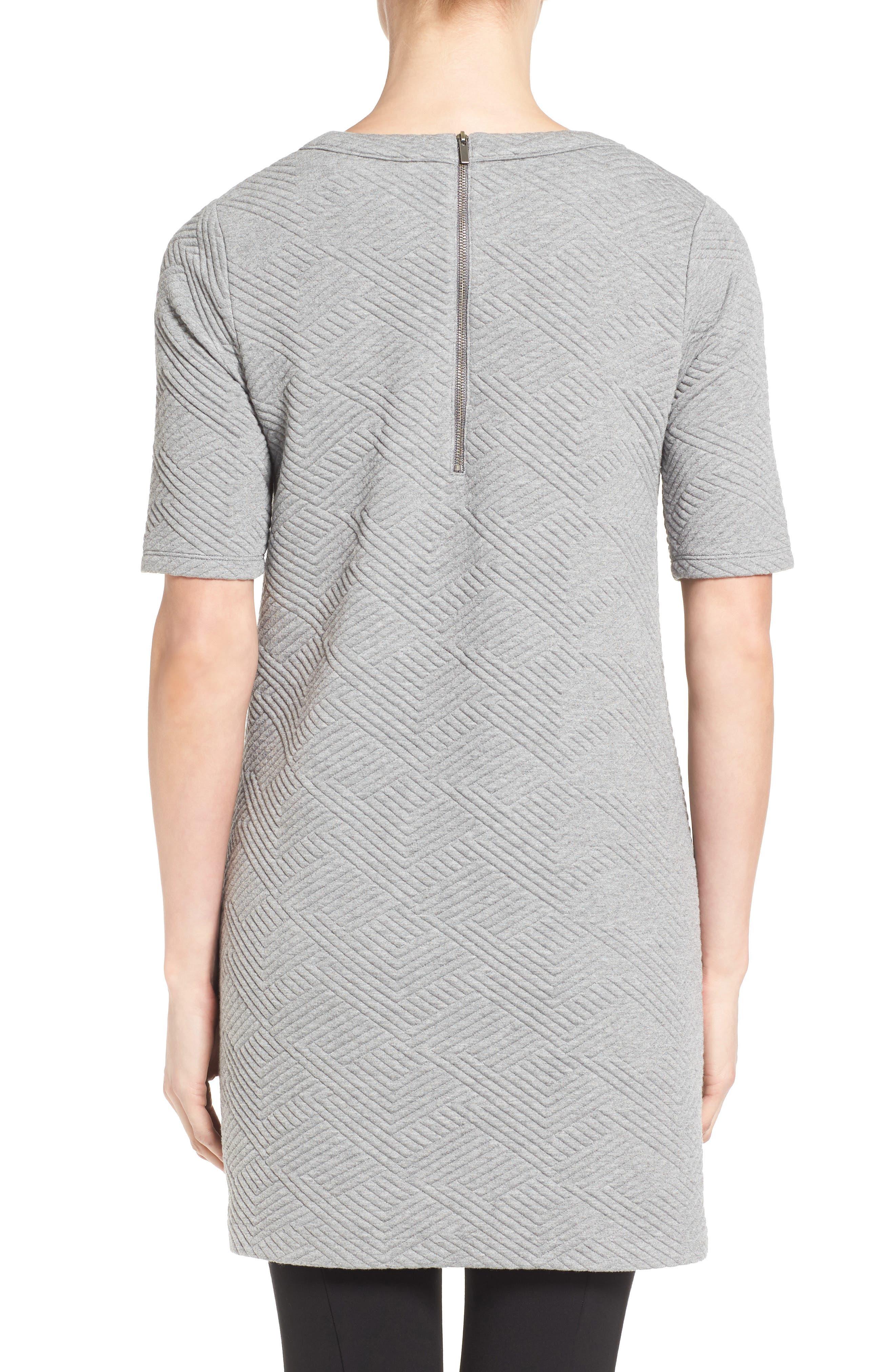 Textured Elbow Sleeve Tunic Dress,                             Alternate thumbnail 2, color,                             030