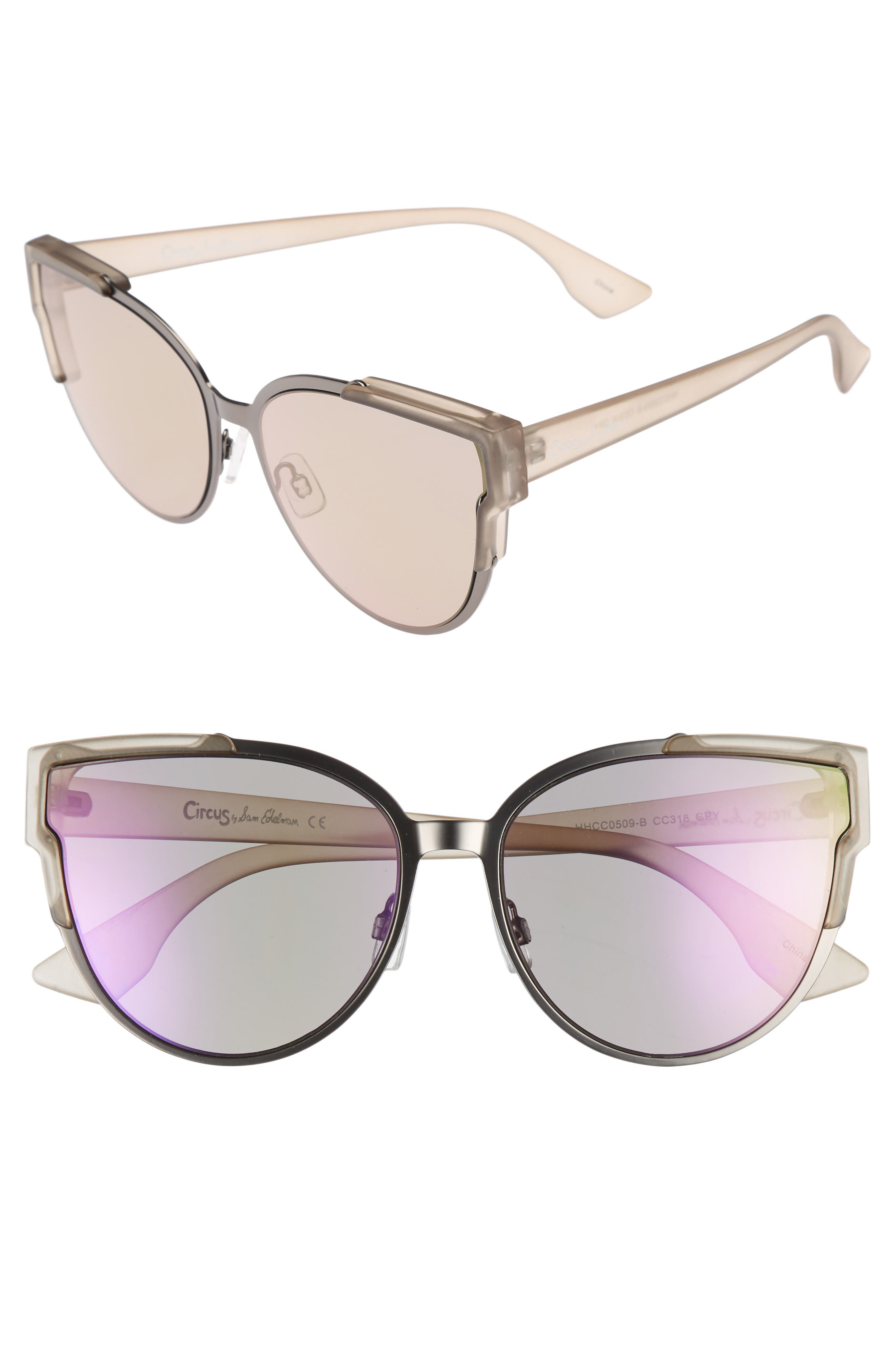 56mm Combo Cat Eye Sunglasses,                             Main thumbnail 1, color,