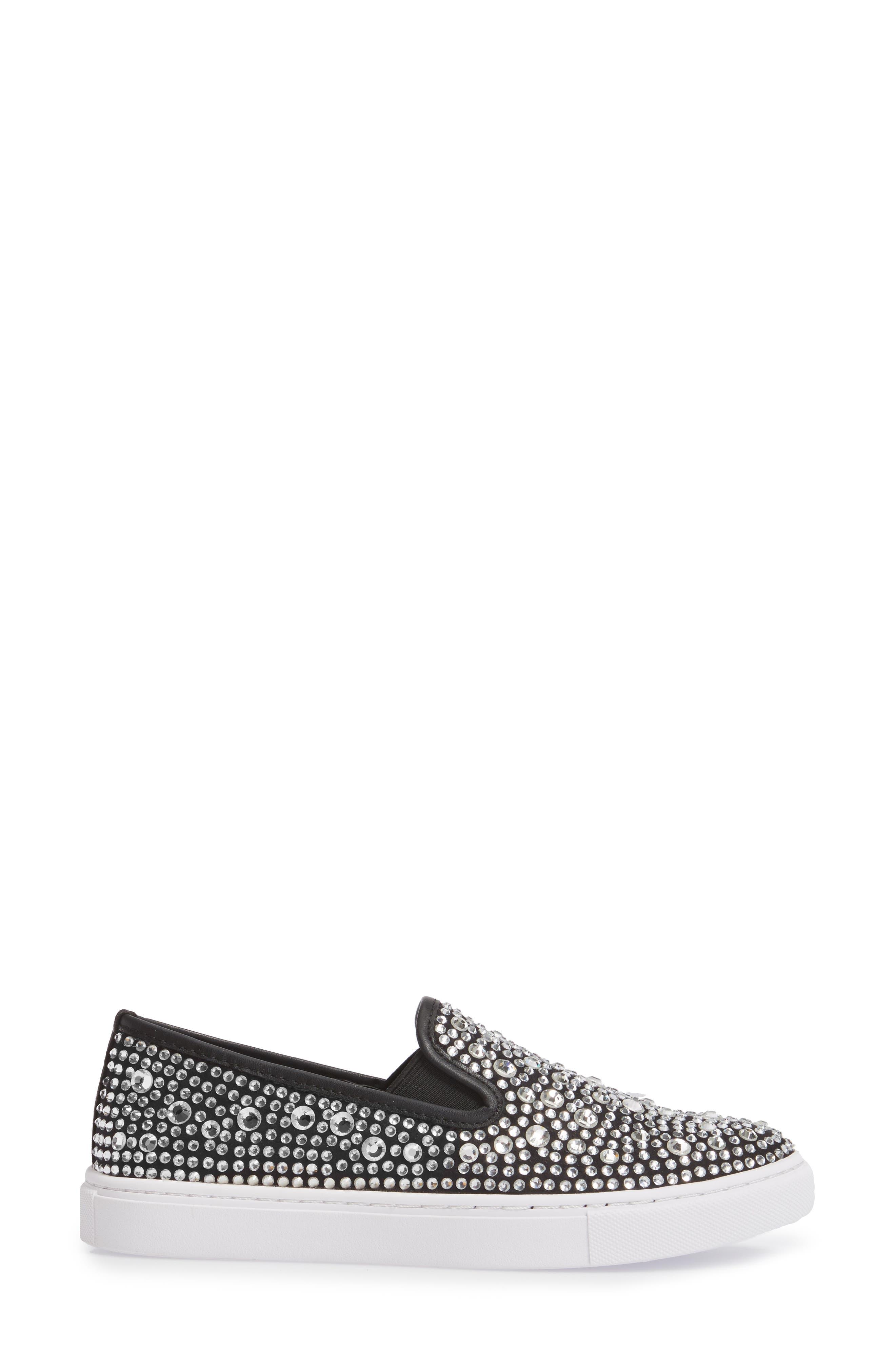 Evada Crystal Embellished Slip-On Sneaker,                             Alternate thumbnail 3, color,                             040