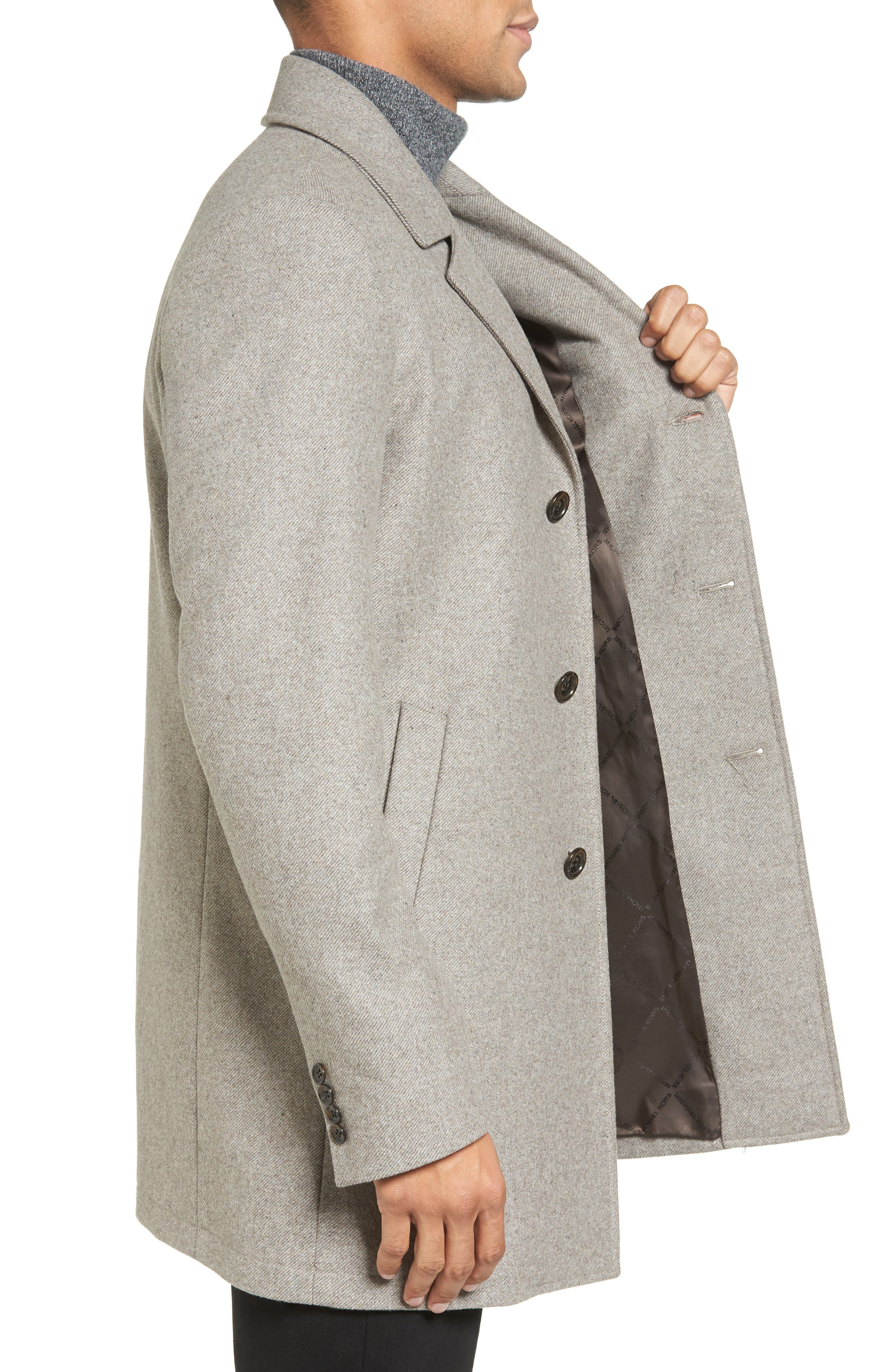 Slim Fit Wool Blend Topcoat,                             Alternate thumbnail 3, color,                             297