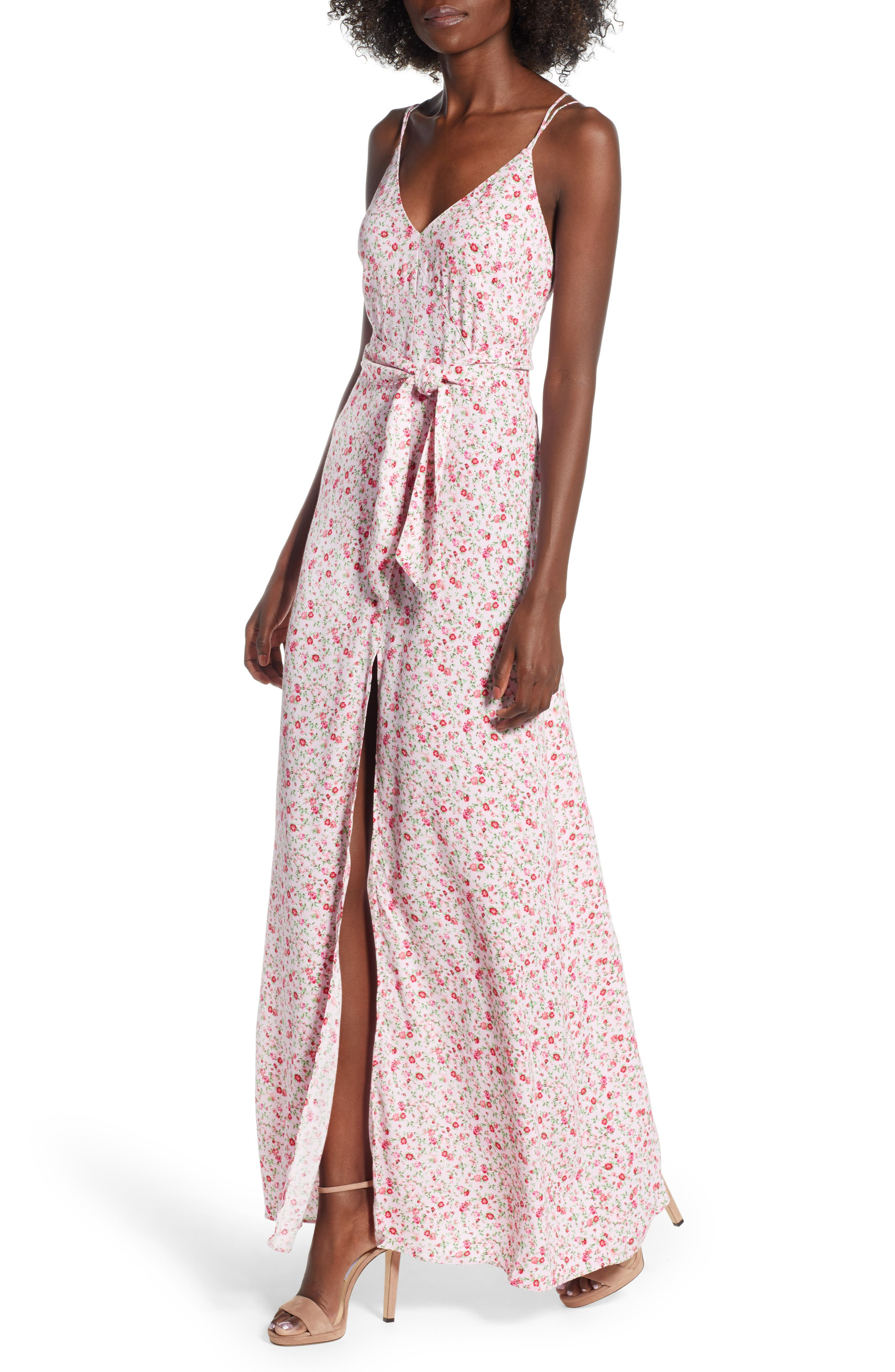 Diego Maxi Dress,                         Main,                         color, BABY PINK DITSY