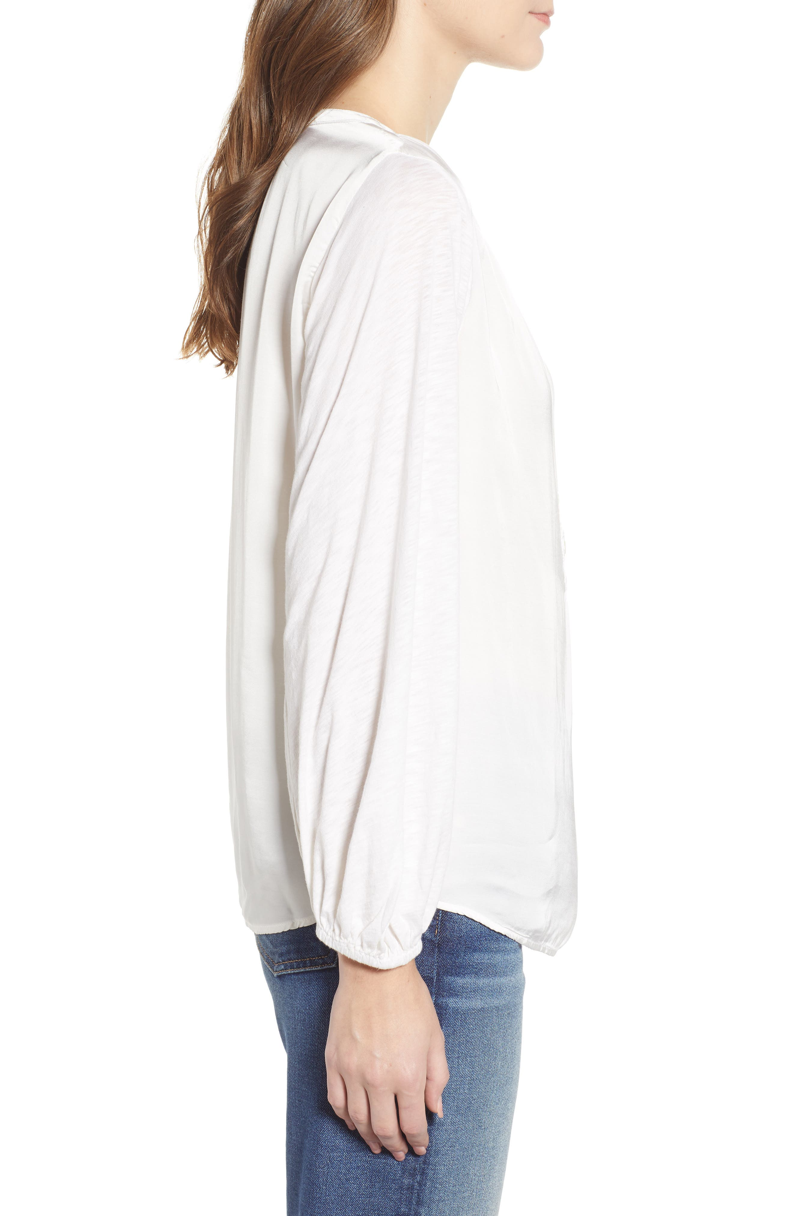 Mixed Media Cotton Blend Top,                             Alternate thumbnail 3, color,                             IVORY