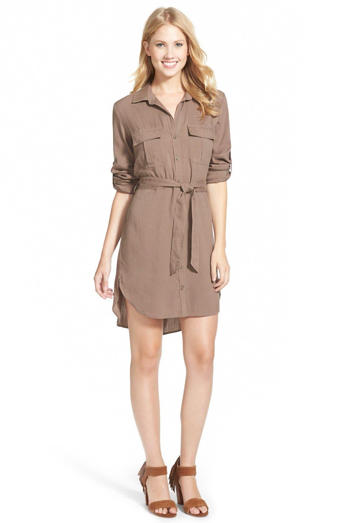 Belted Tencel<sup>®</sup> Shirtdress,                             Main thumbnail 1, color,                             020