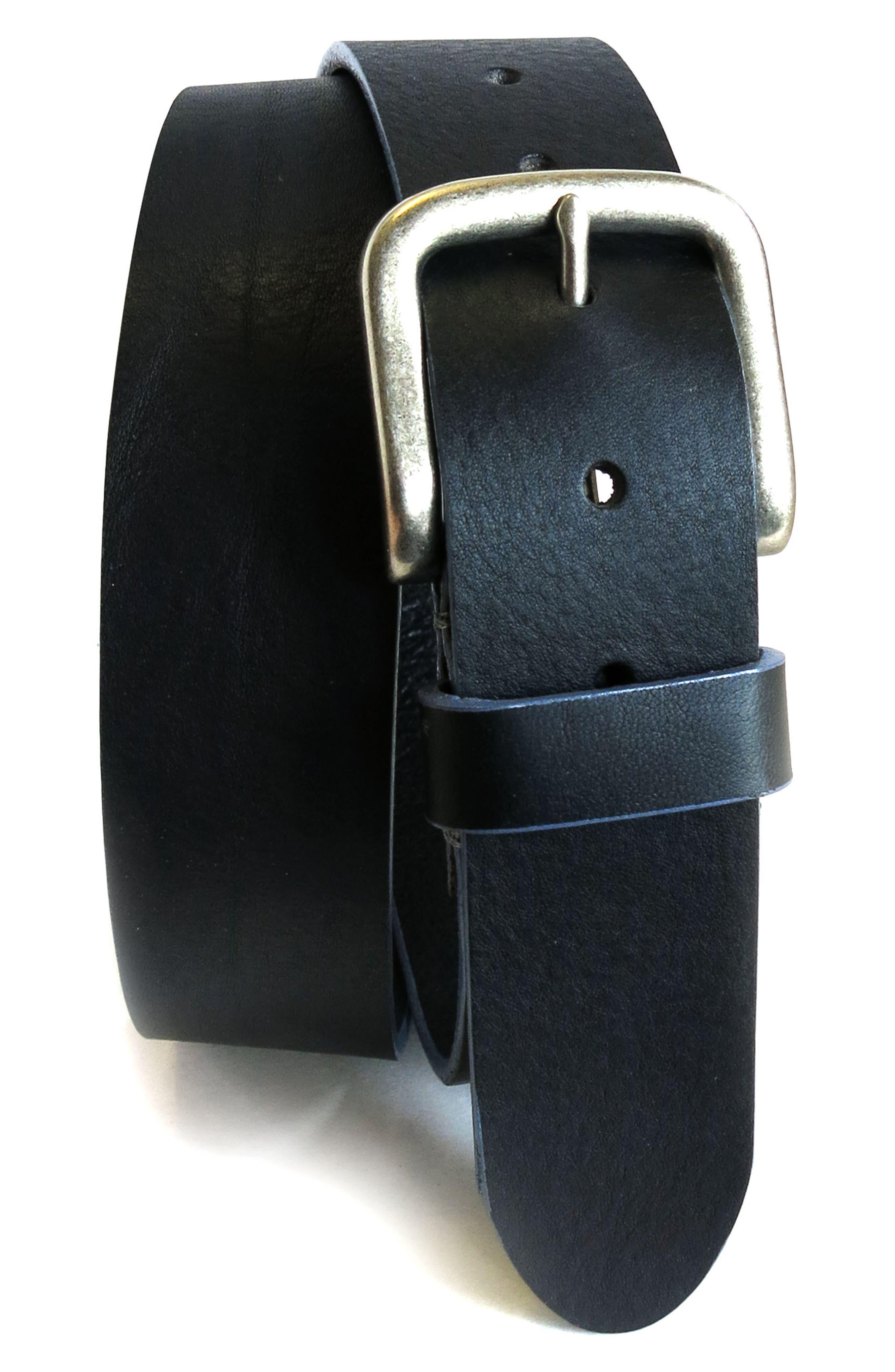 'Bastian' Bison Leather Belt,                         Main,                         color, BLACK
