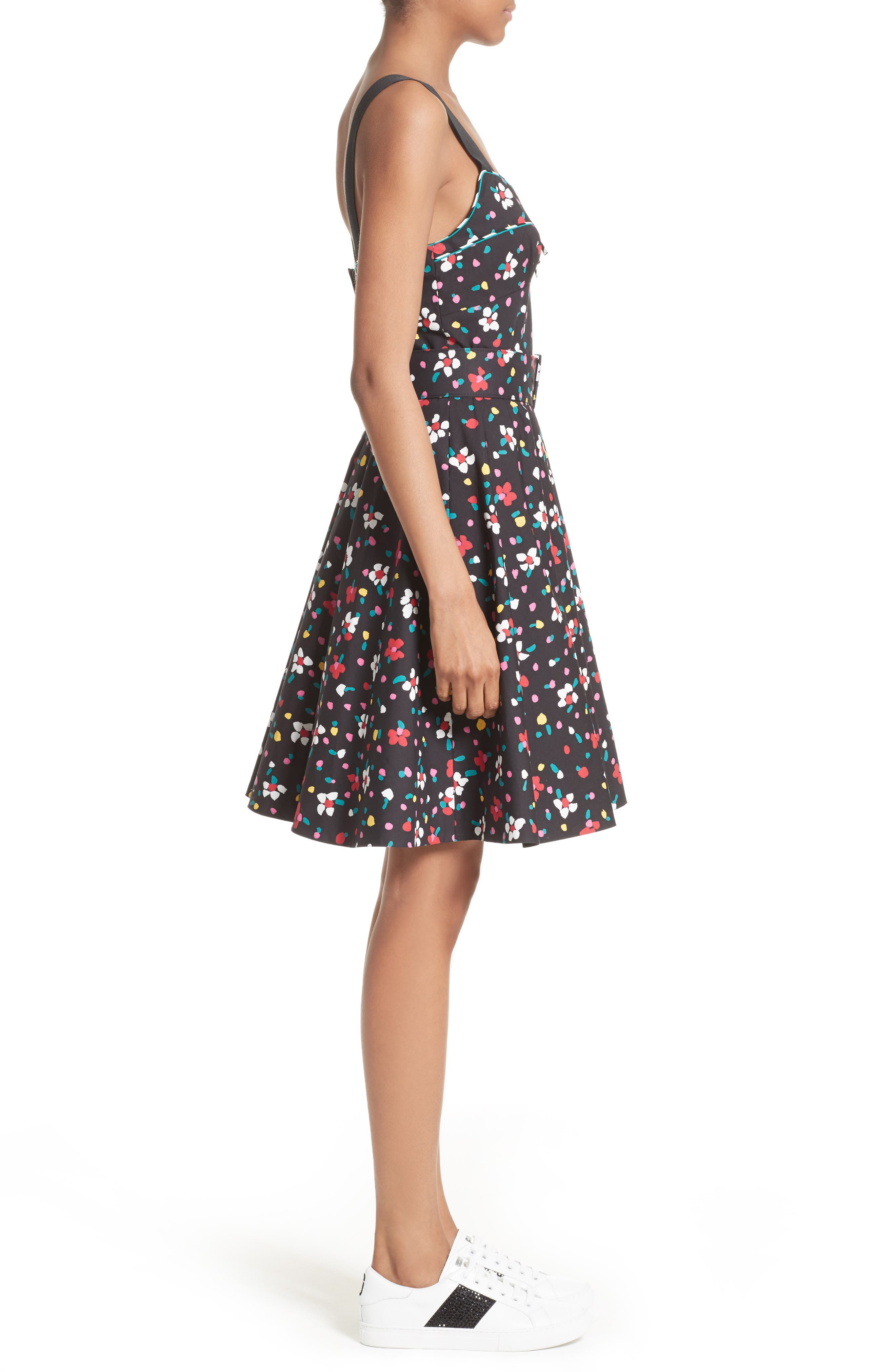Floral Print Poplin Fit & Flare Dress,                             Alternate thumbnail 3, color,