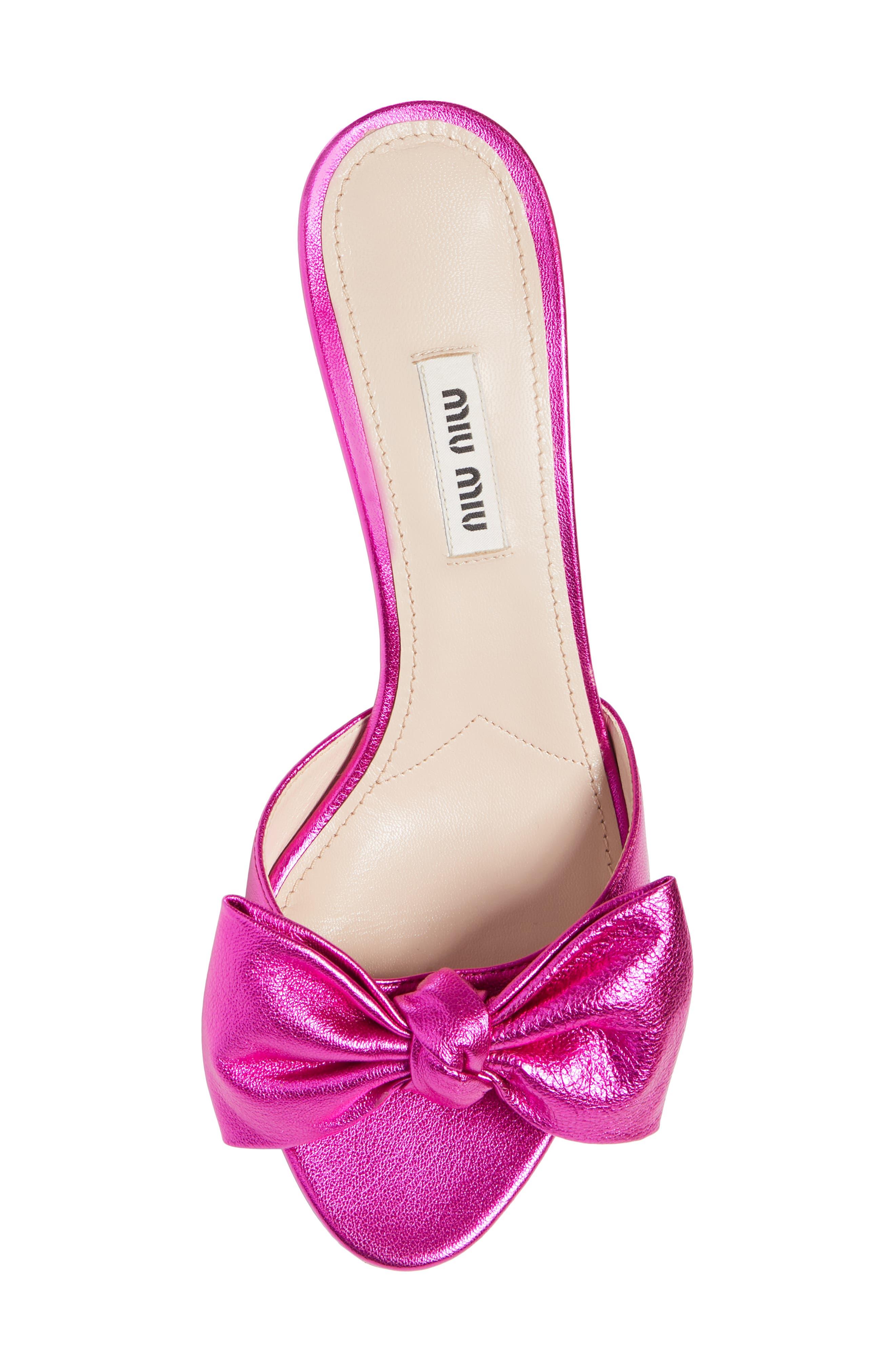 Bow Slide Sandal,                             Alternate thumbnail 5, color,                             FUCHSIA