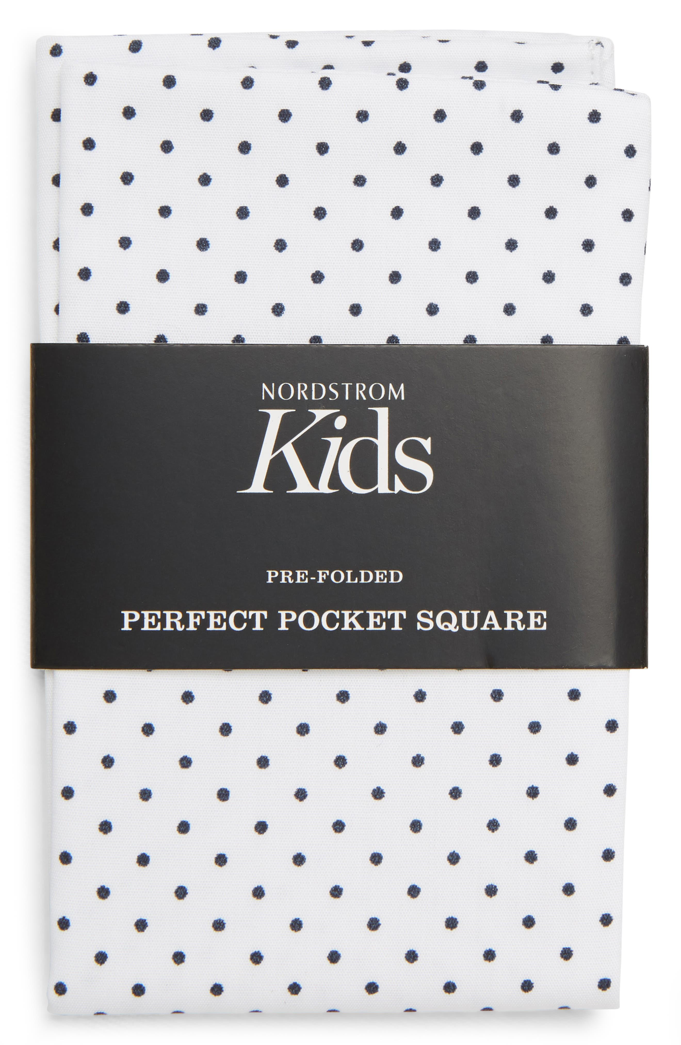 The Perfect Prefolded Dot Print Pocket Square,                             Main thumbnail 1, color,                             WHITE