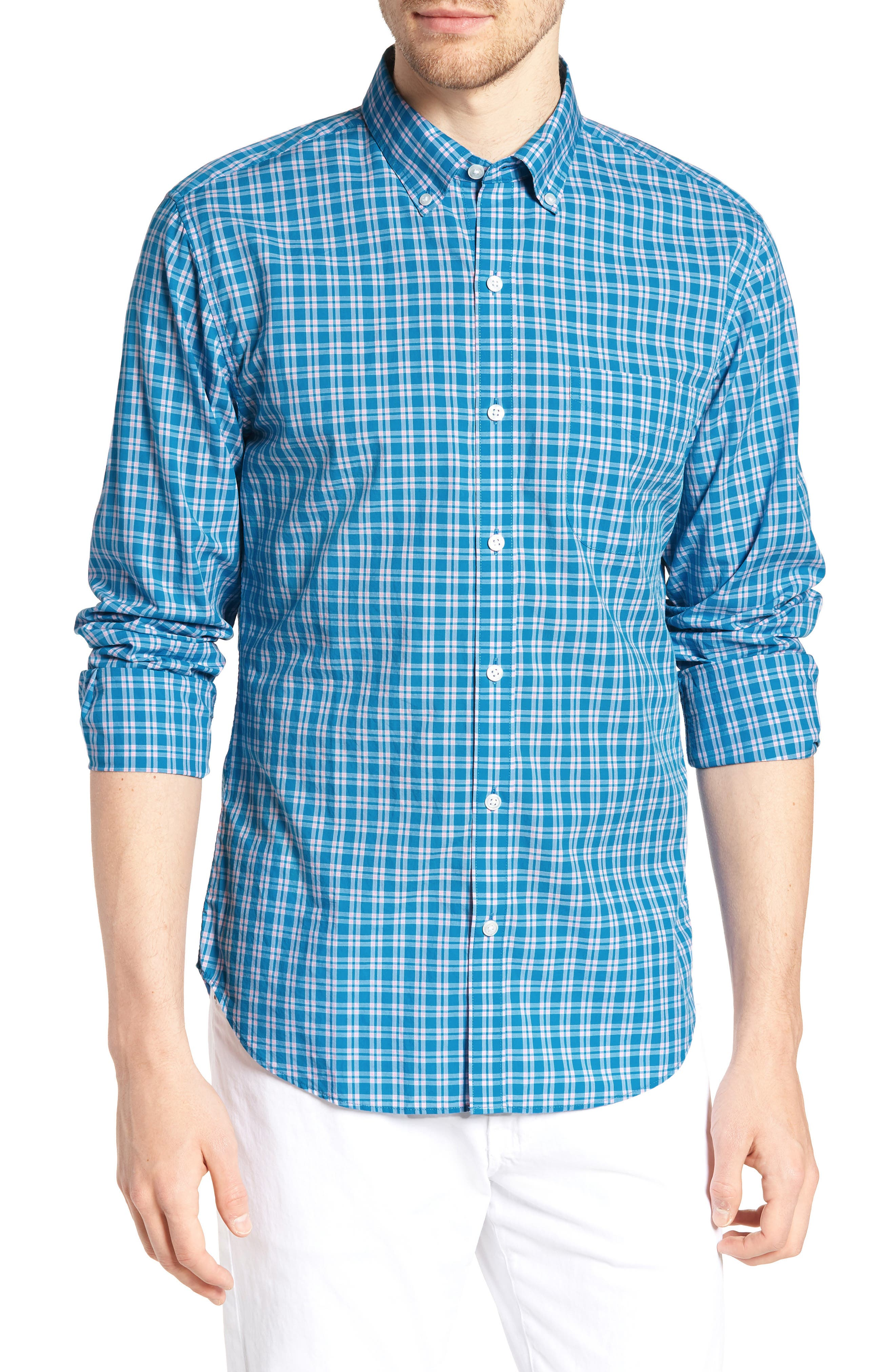 Summerweight Slim Fit Check Sport Shirt,                             Main thumbnail 1, color,                             400