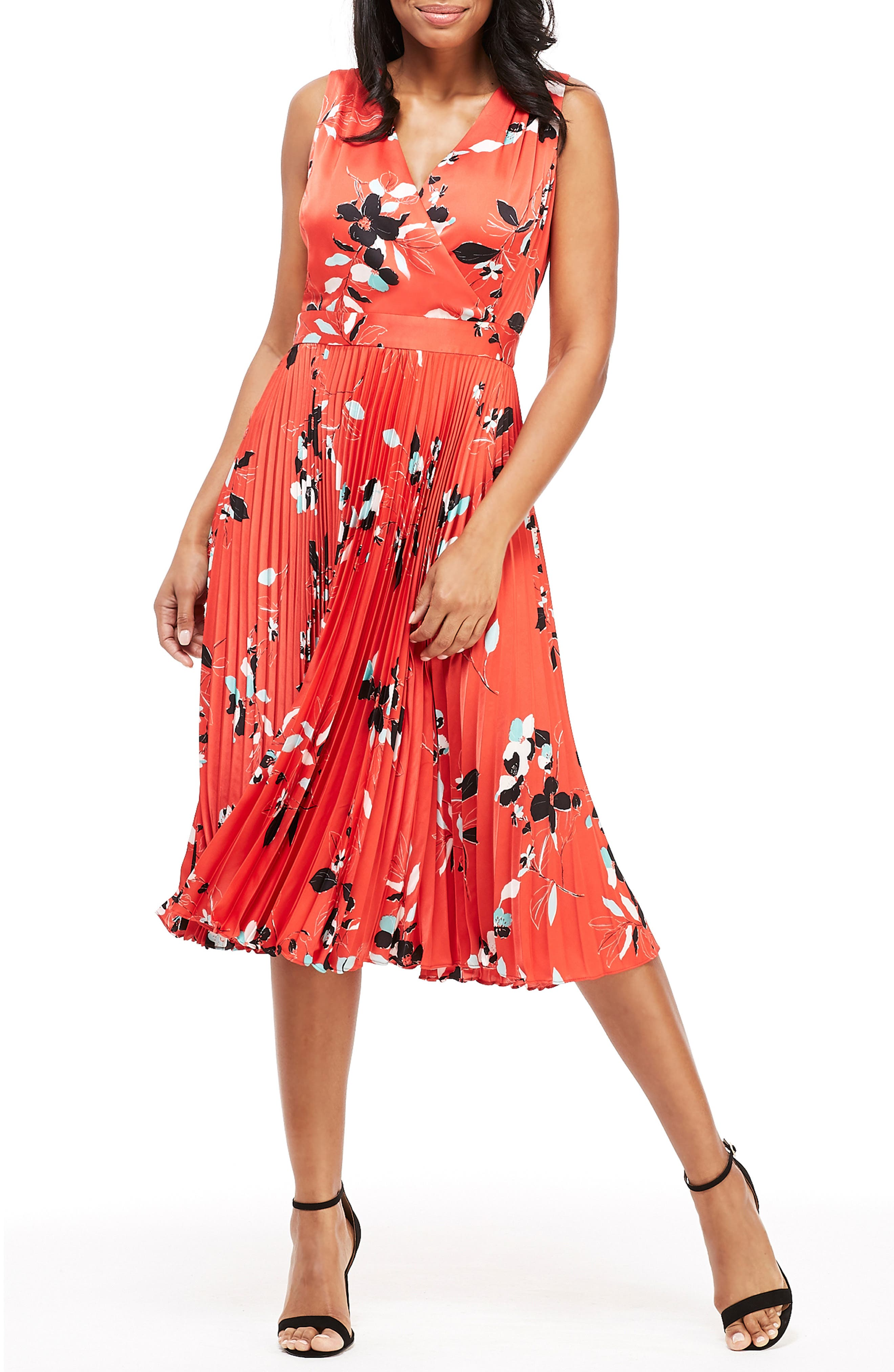 Maggy London Gabby Floral Pleated Dress, Red