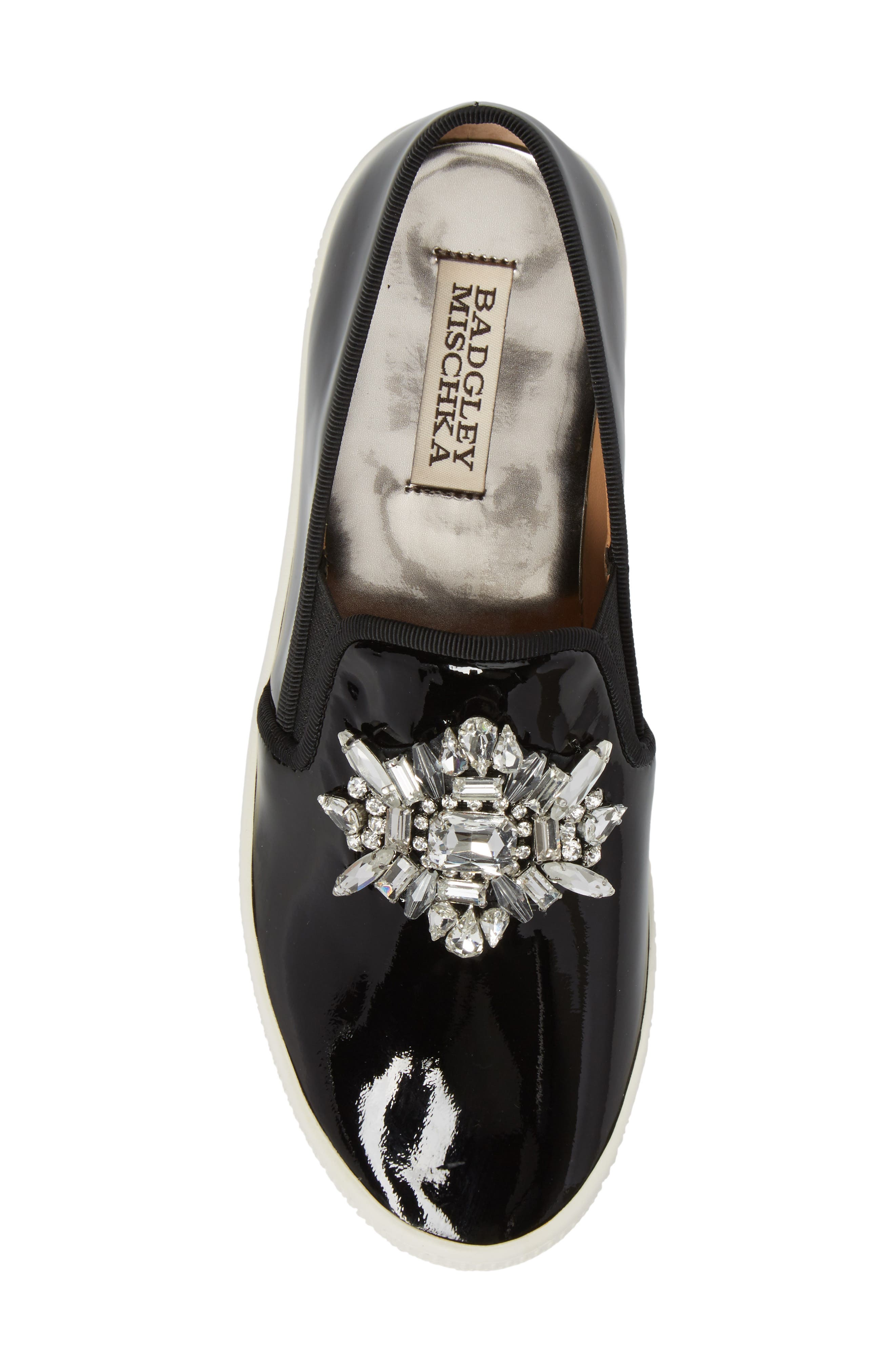 Badgley Mischka Barre Crystal Embellished Slip-On Sneaker,                             Alternate thumbnail 5, color,                             011