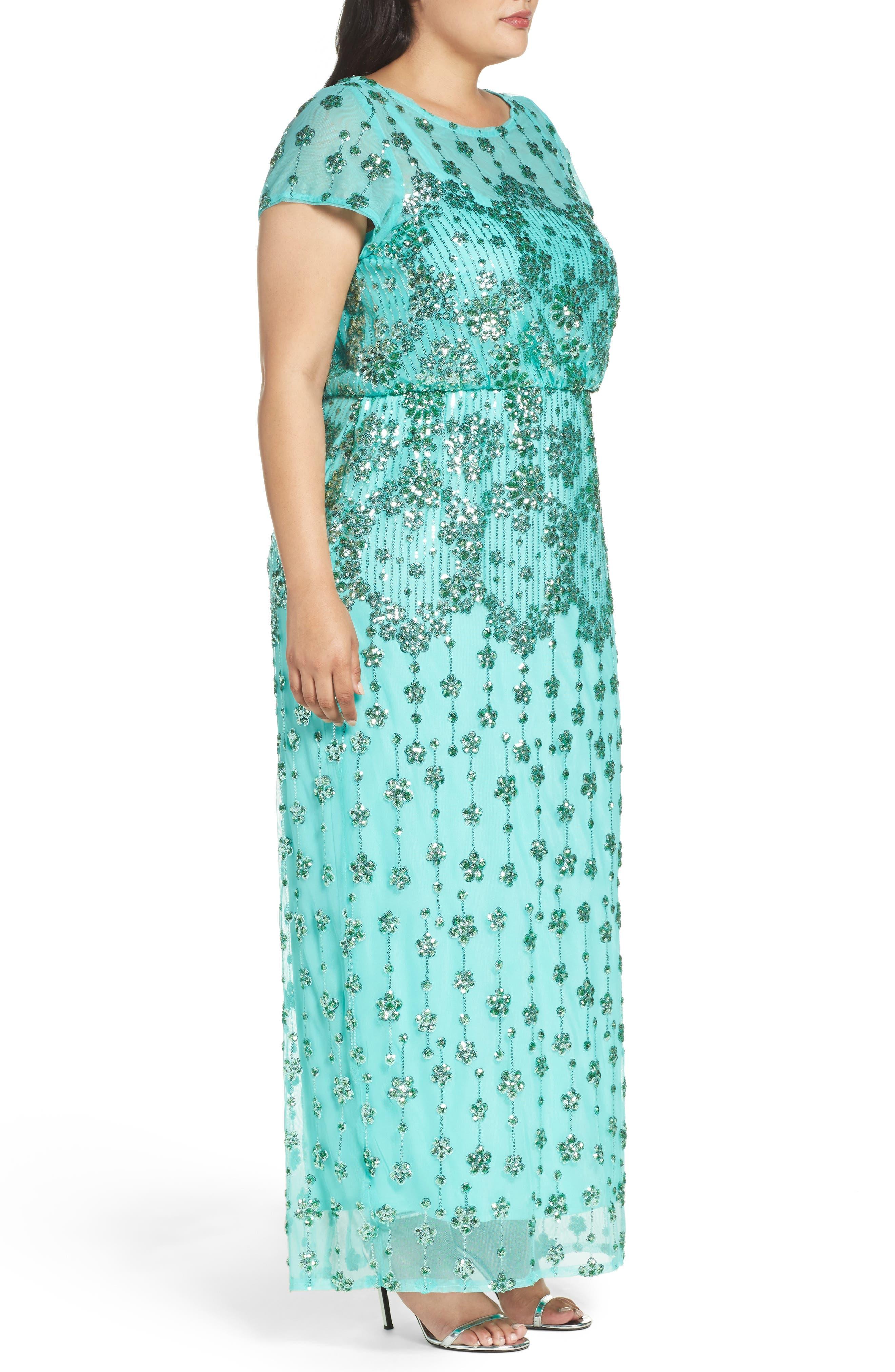 Embellished Blouson Gown,                             Alternate thumbnail 3, color,                             370