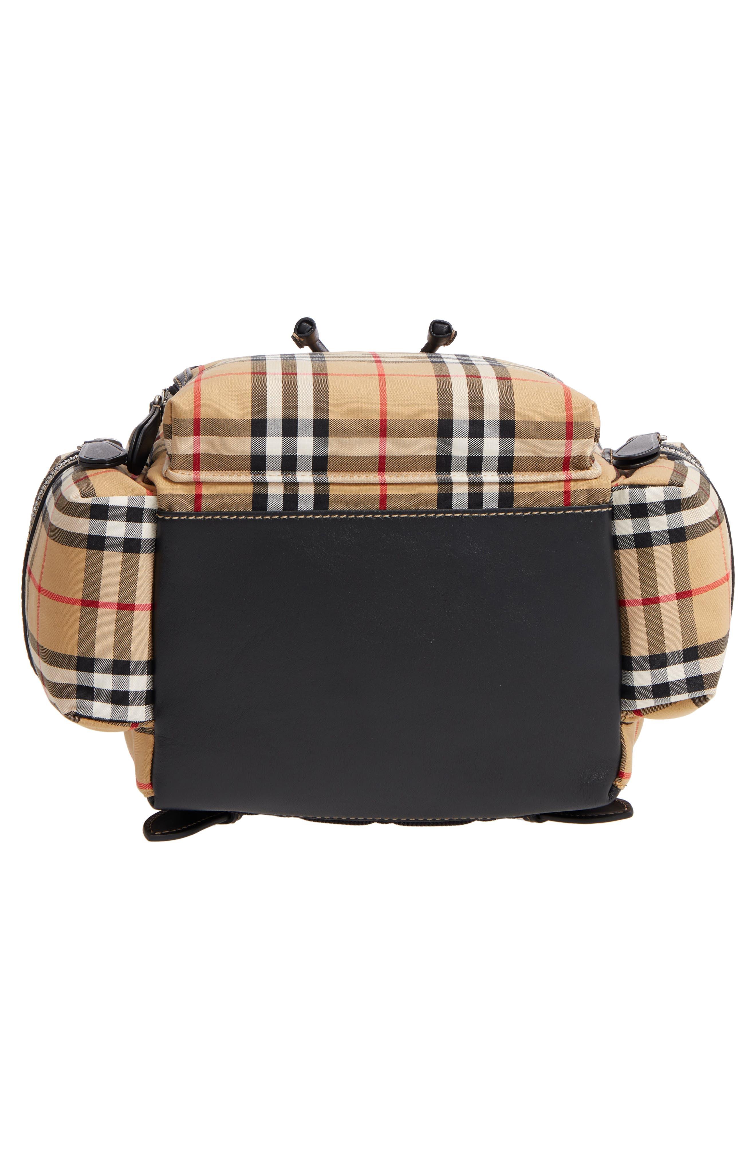 Medium Rucksack Check Cotton Backpack,                             Alternate thumbnail 6, color,                             ANTIQUE YELLOW