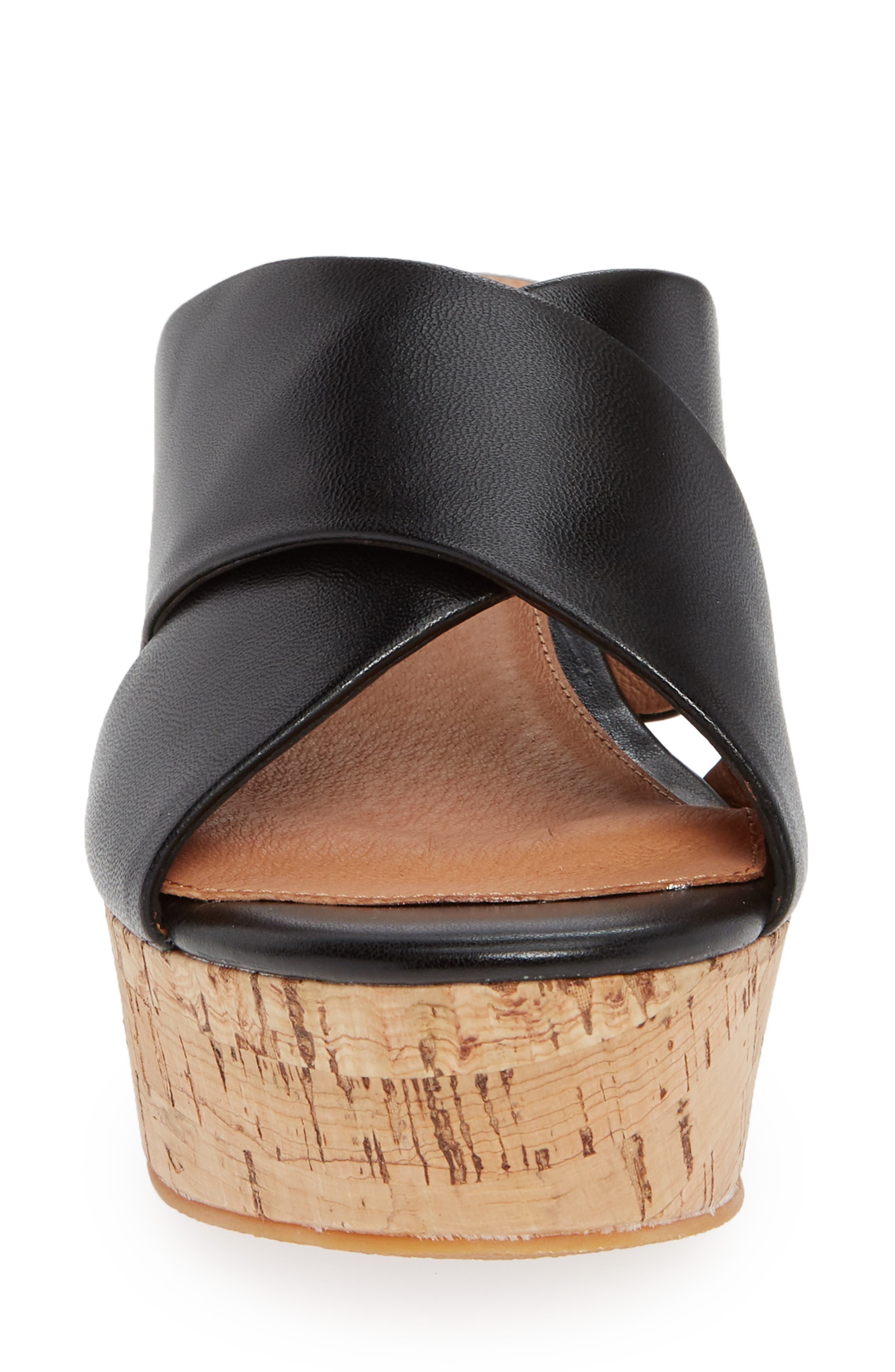 Elena Platform Wedge Sandal,                             Alternate thumbnail 4, color,                             BLACK LEATHER